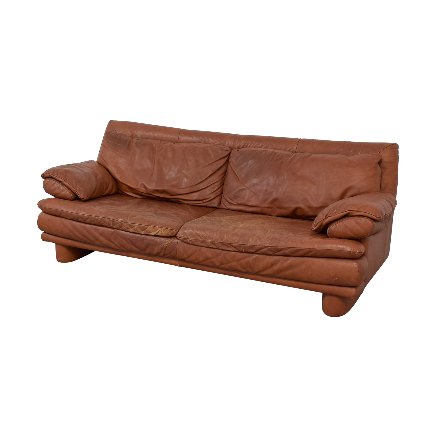 Maurice Villency Maurice Villency Brown Leather Sofa discount