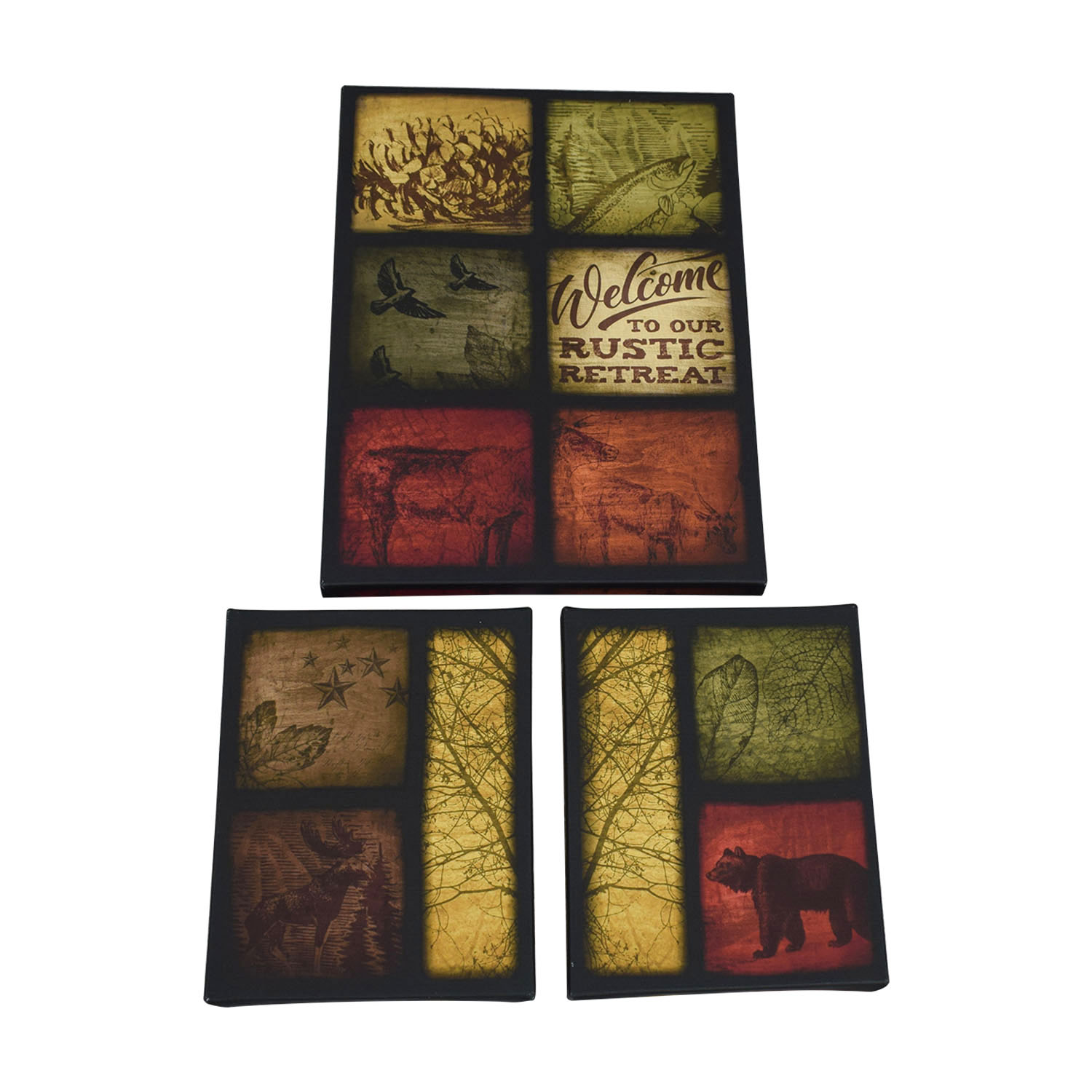 Wayfair Rustic Wildlife Patchwork Canvas Prints Multi