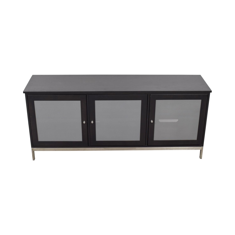 shop Room & Board Linear Black and Grey Media Cabinet Room & Board Media Units