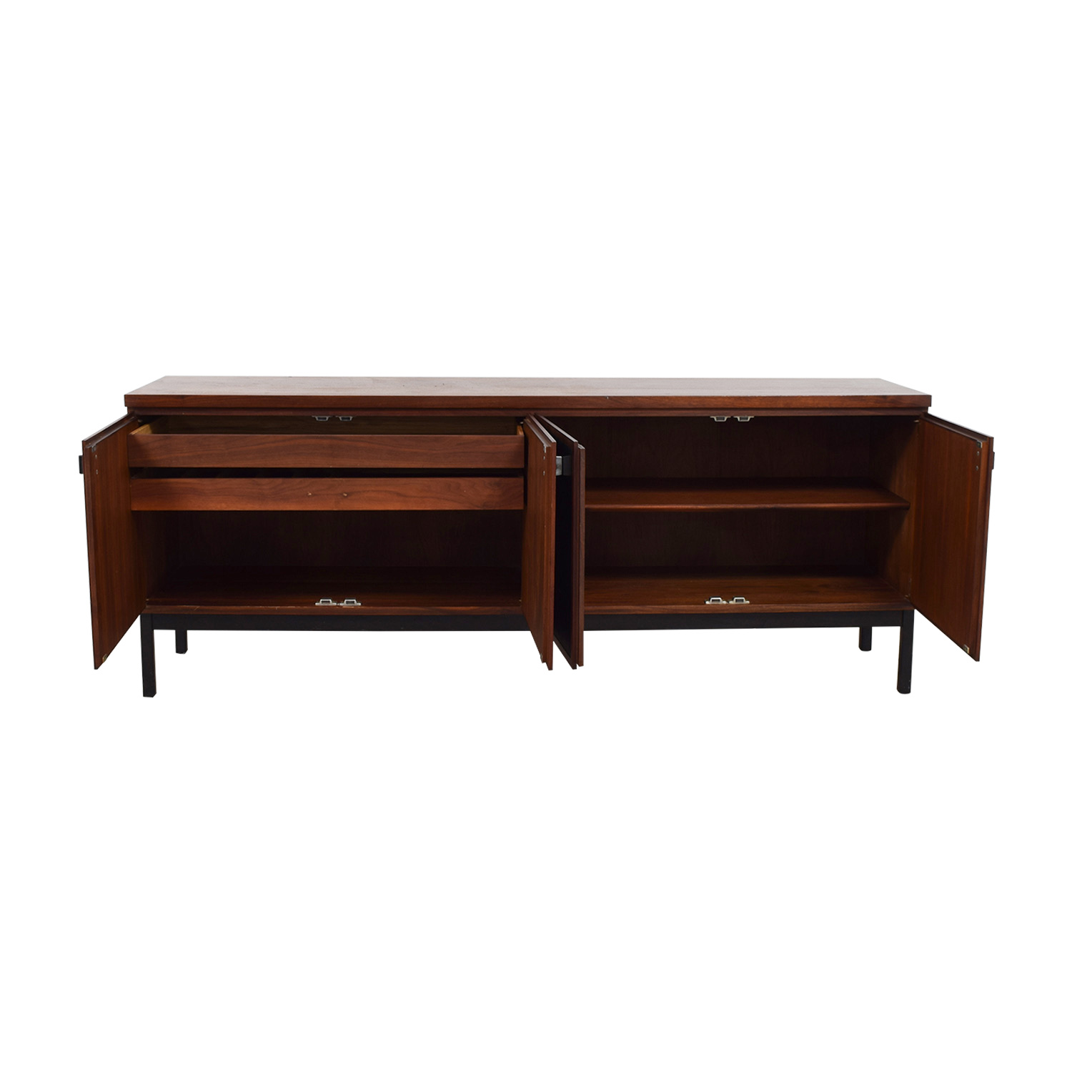 Mid Century Modern Cherry Wood and Black Leather Credenza discount