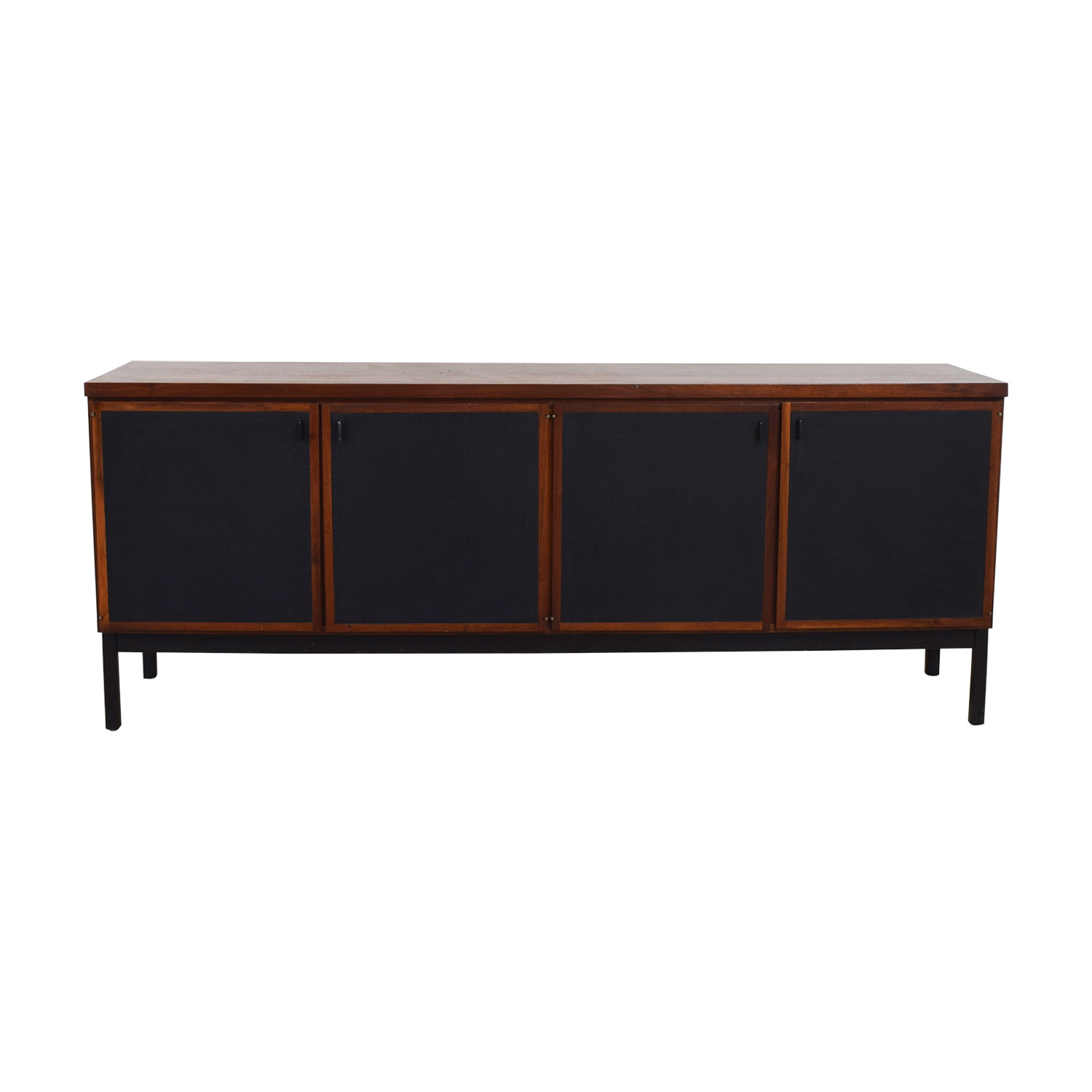 . 77  OFF   Mid Century Modern Cherry Wood and Black Leather Credenza    Storage