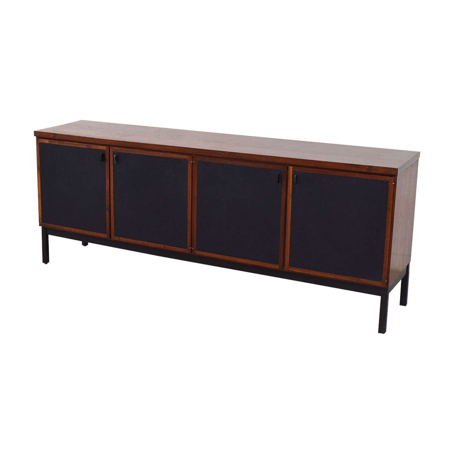 77 Off Mid Century Modern Cherry Wood And Black Leather