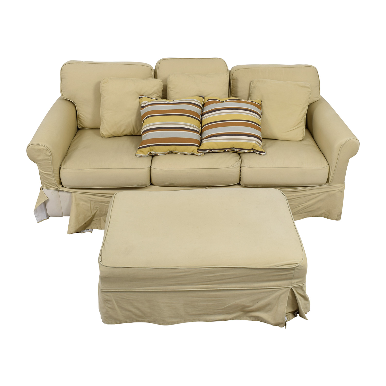 buy Ballard Design Beige Three-Cushion Couch and Ottoman Ballard Design