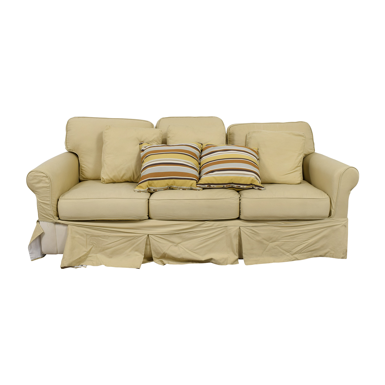 Ballard Design Ballard Design Beige Three-Cushion Couch and Ottoman second hand