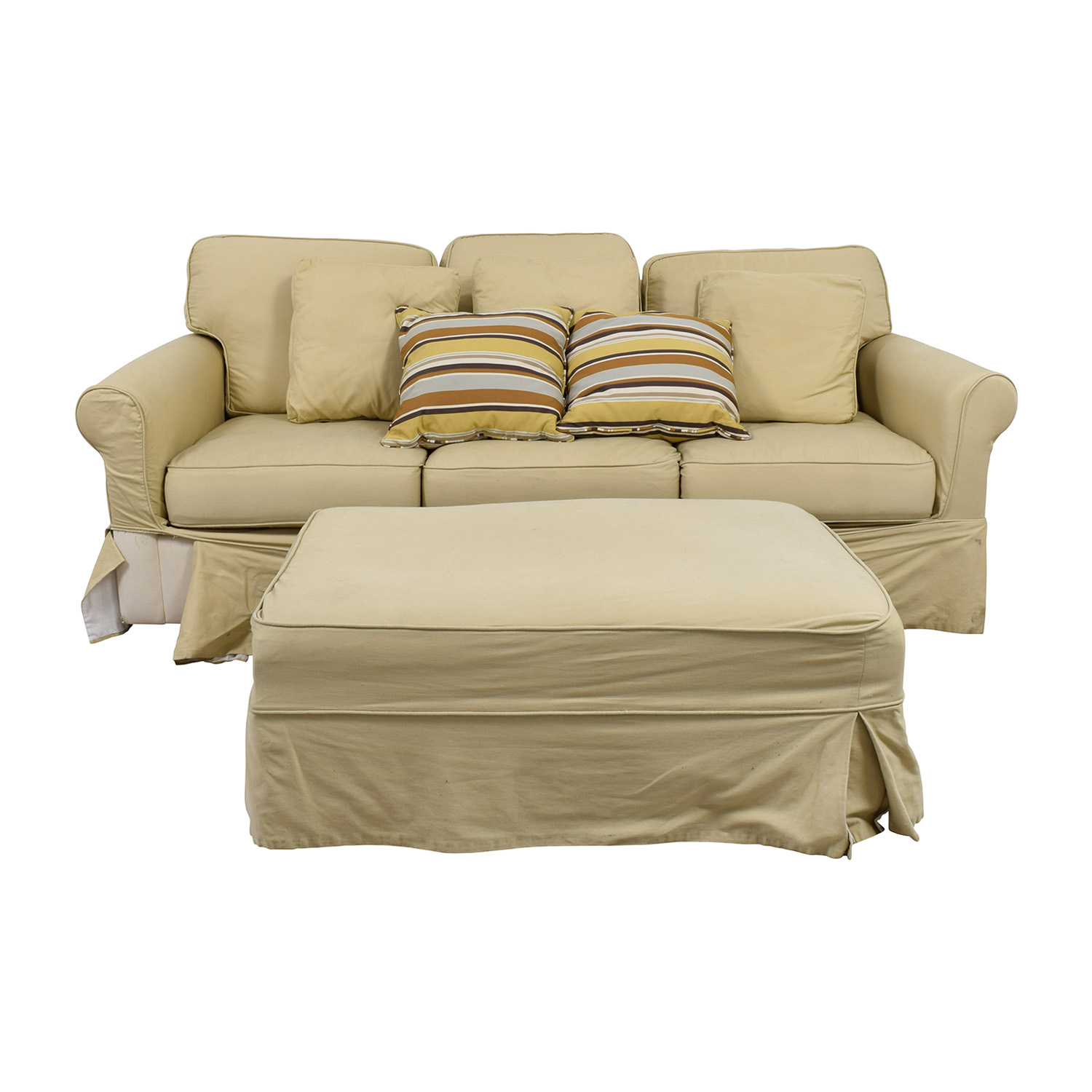Ballard Design Ballard Design Beige Three-Cushion Couch and Ottoman on sale
