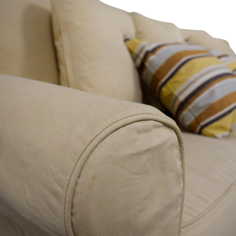 buy Ballard Design Ballard Design Beige Three-Cushion Couch and Ottoman online