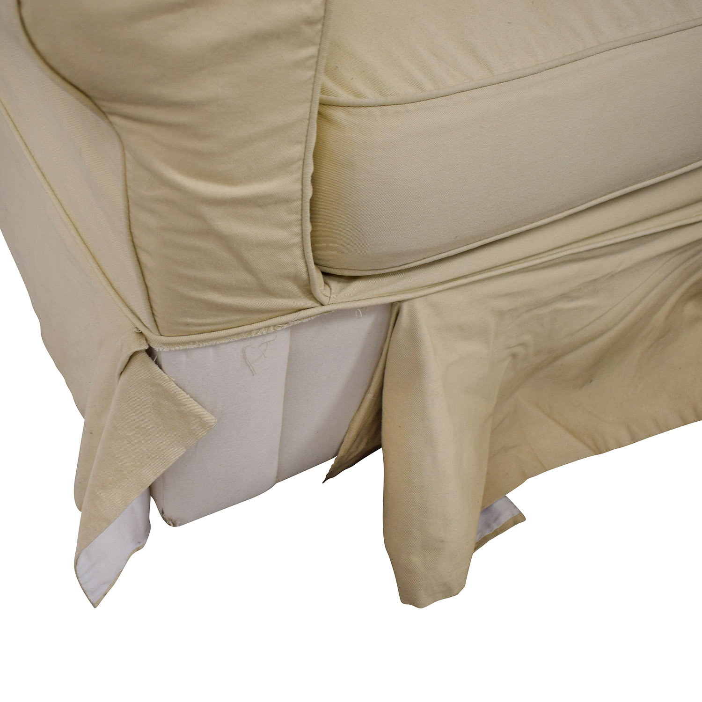 shop Ballard Design Beige Three-Cushion Couch and Ottoman Ballard Design Classic Sofas