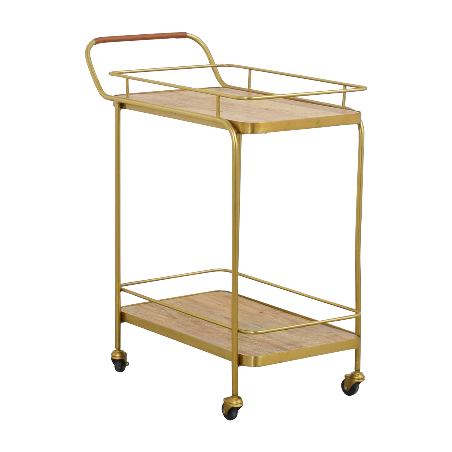 Beech and Bronze Bar Cart used