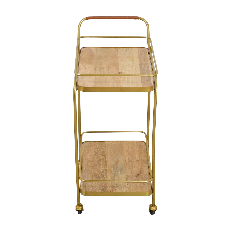 Beech and Bronze Bar Cart Tables