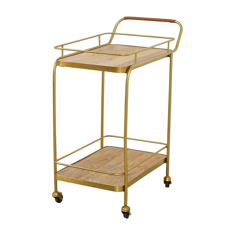 Beech and Bronze Bar Cart Utility Tables