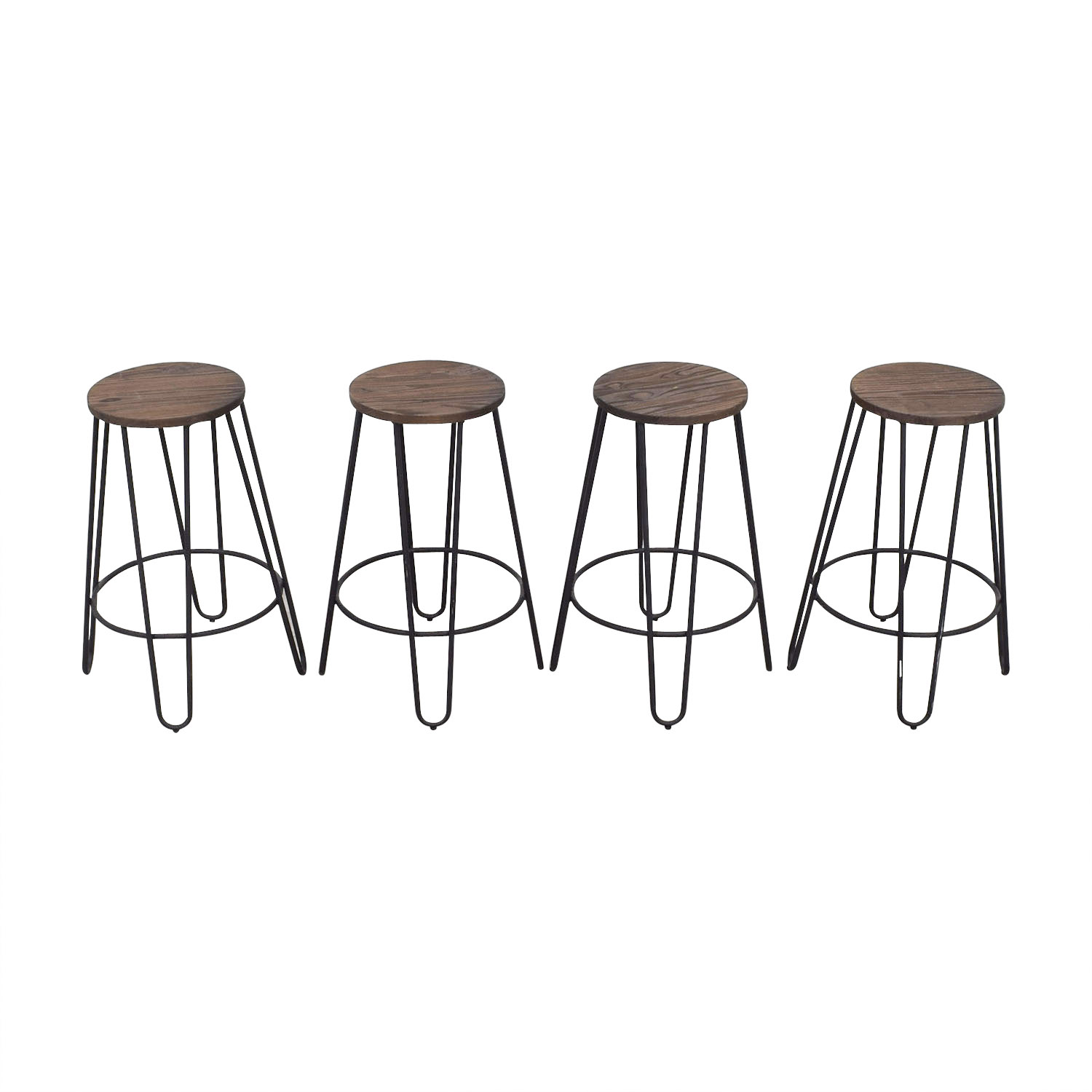 Black Wood and Metal Stools second hand