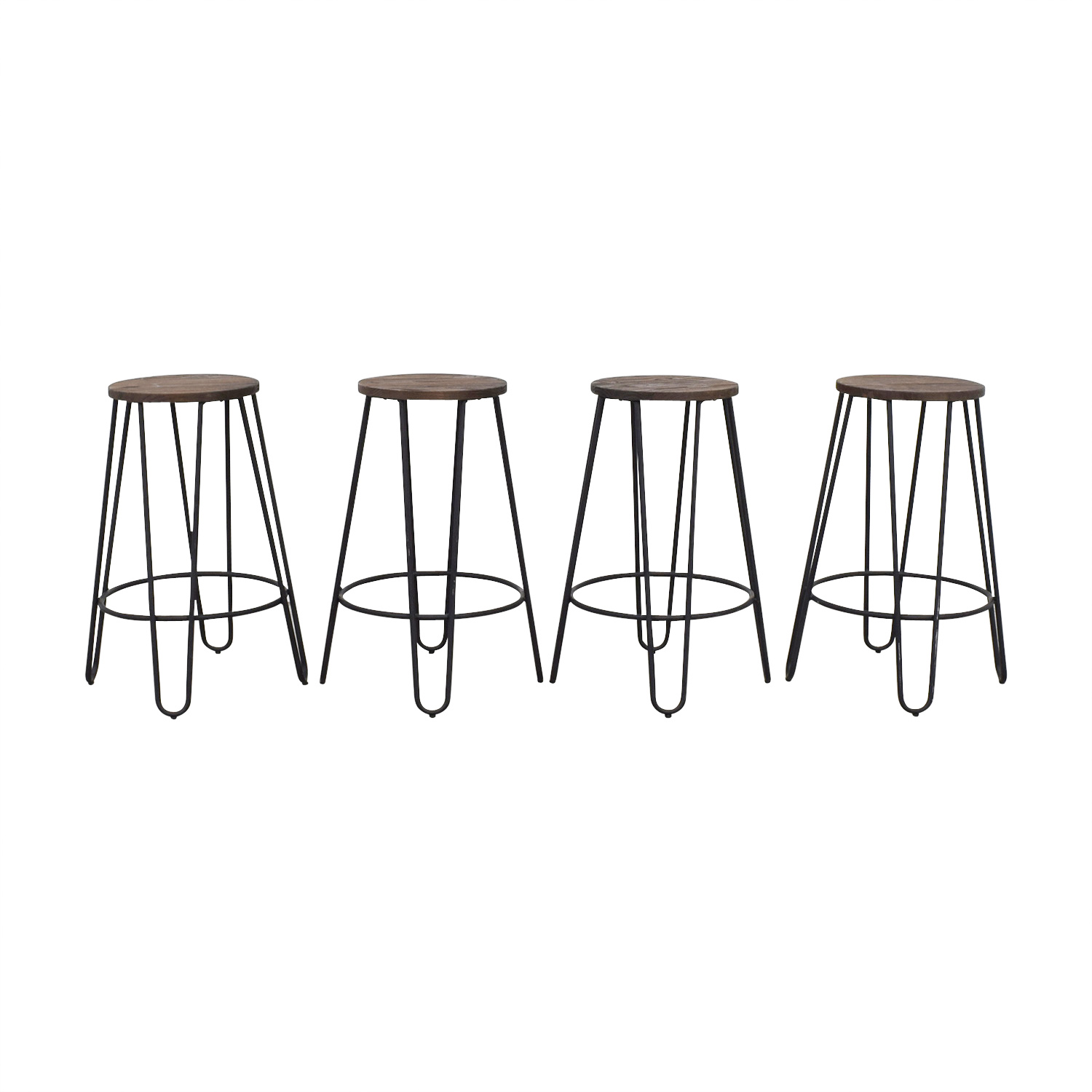 Black Wood and Metal Stools