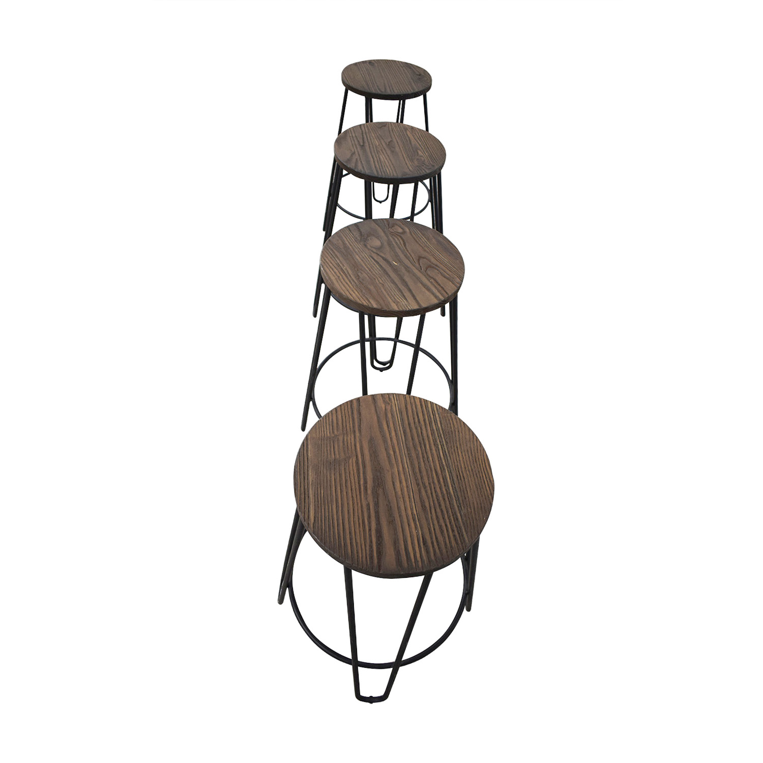 Black Wood and Metal Stools for sale