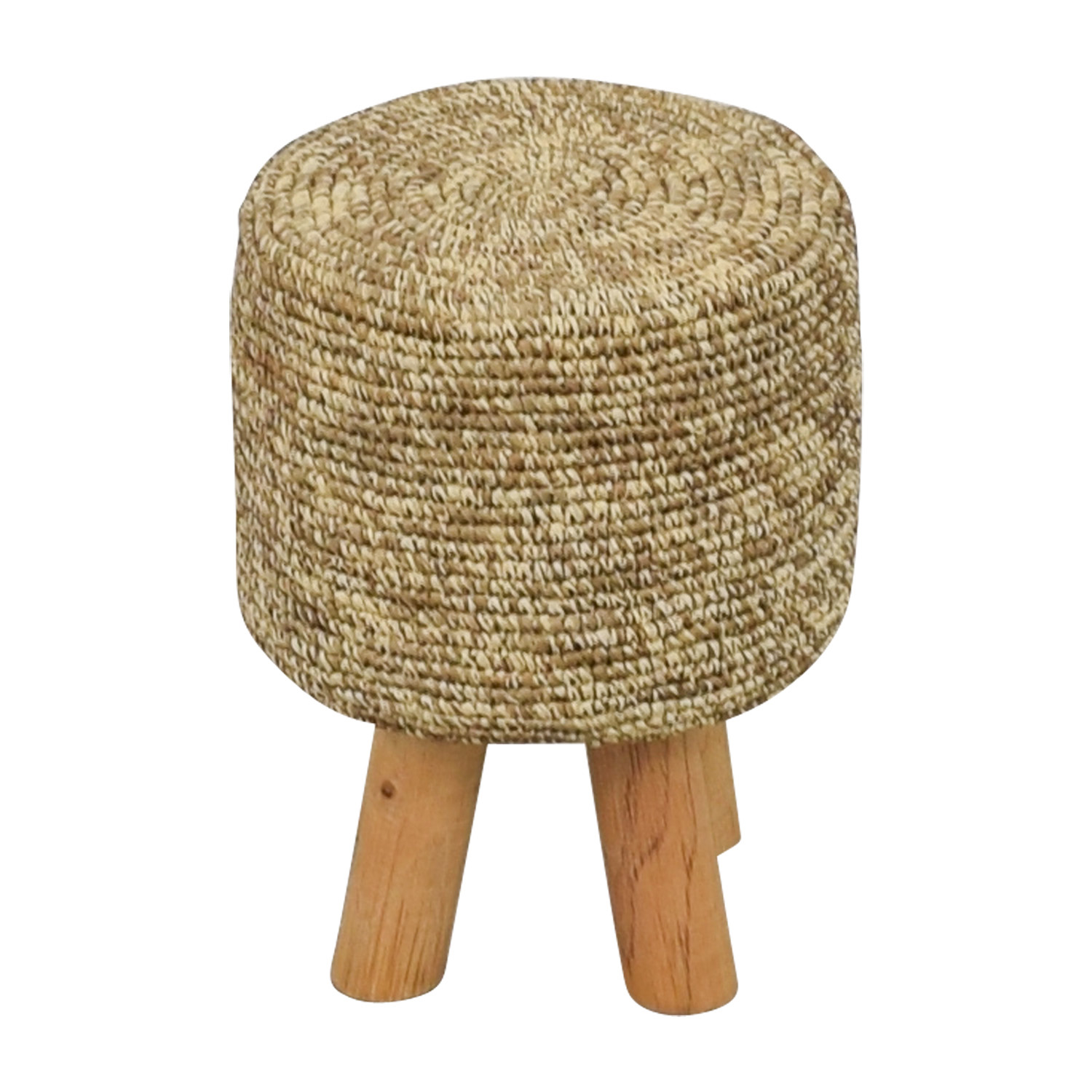 Wool and Wood Short Stool on sale