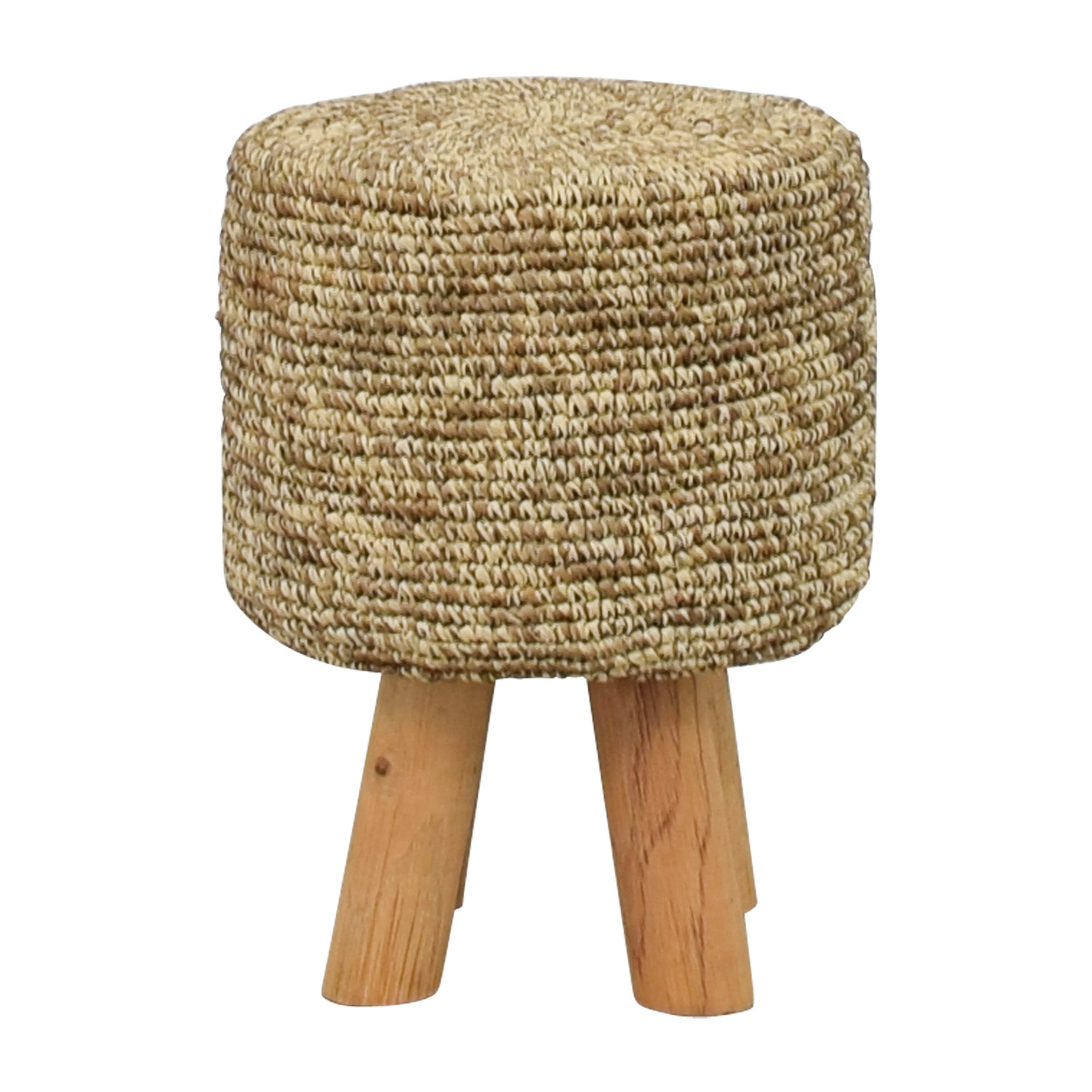 Wool and Wood Short Stool used