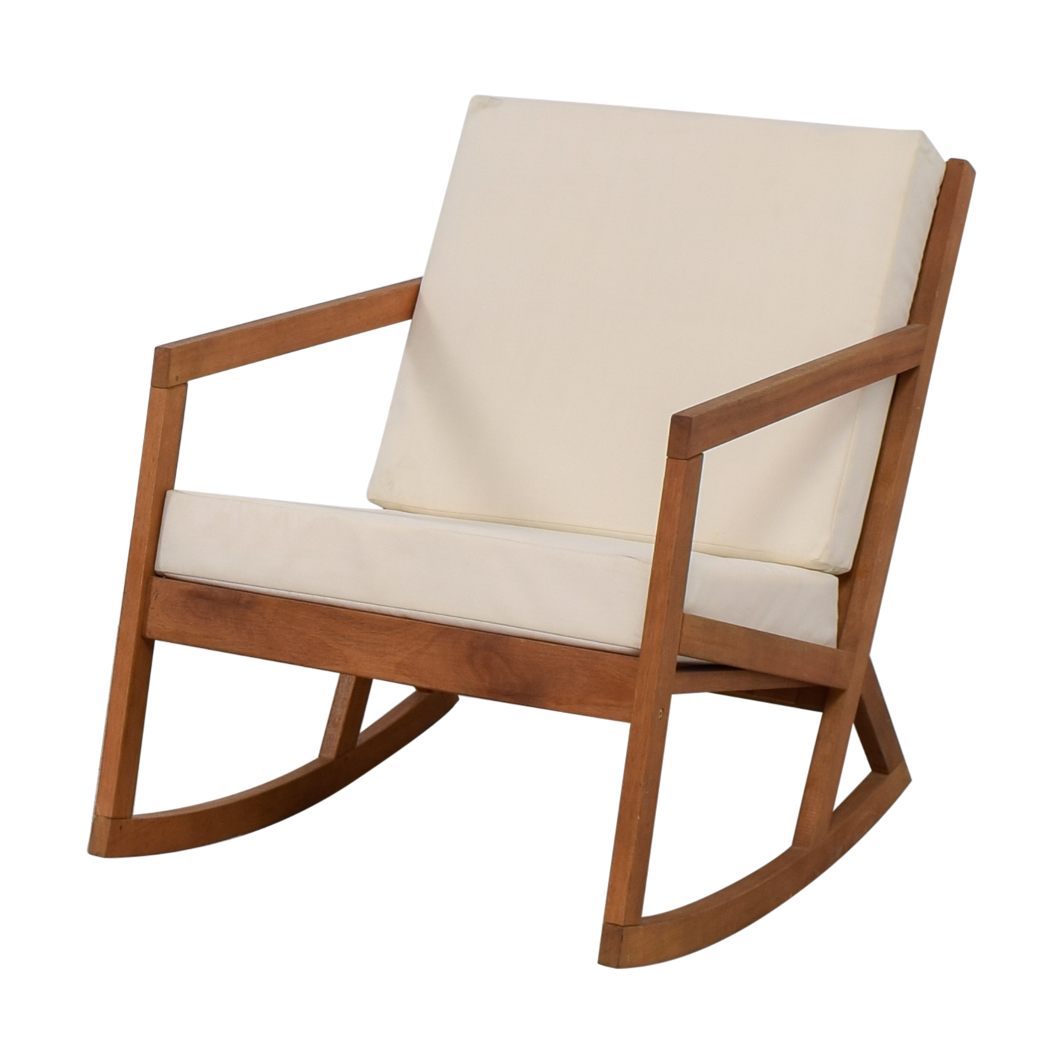 Safavieh Safavieh White Upholstered Wood Rocking Chair brown/white