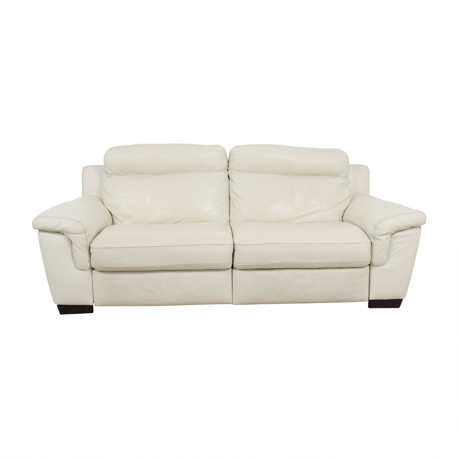 69% OFF - Macy\'s Macy\'s Off White Leather Recliner Sofa / Sofas