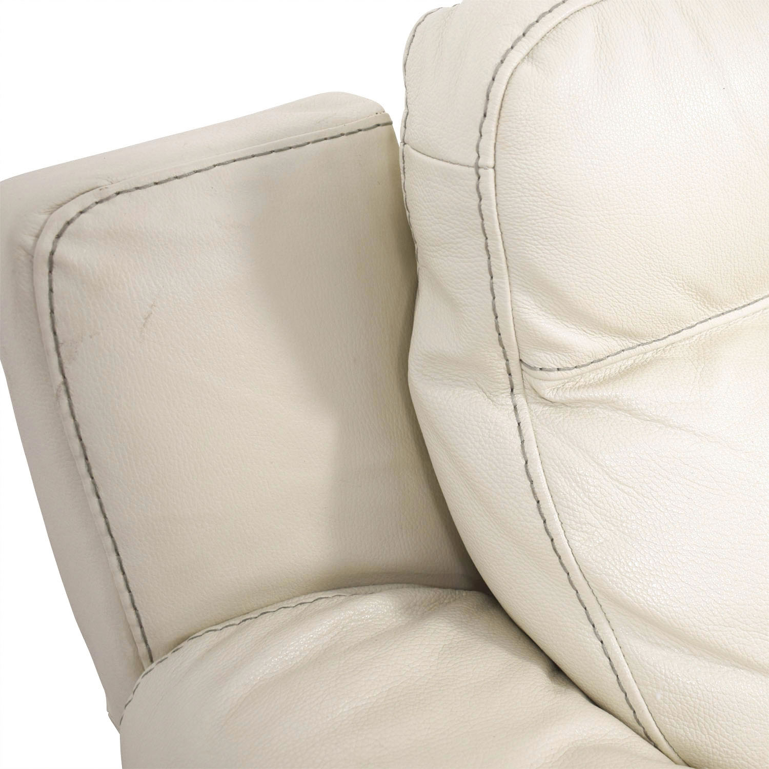 69 Off Macy S Macy S Off White Leather Recliner Sofa
