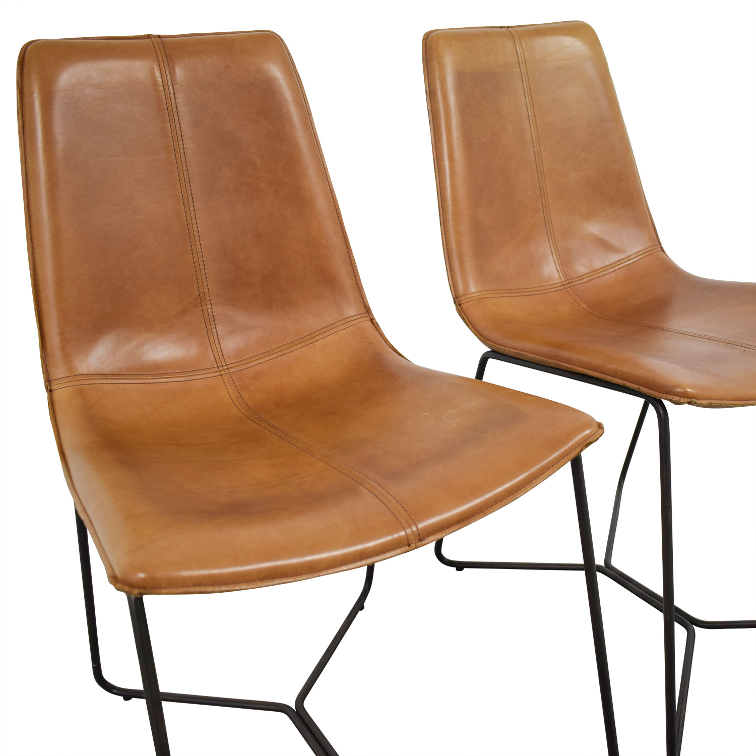 shop West Elm Leather Slope Dining Chairs West Elm Dining Chairs