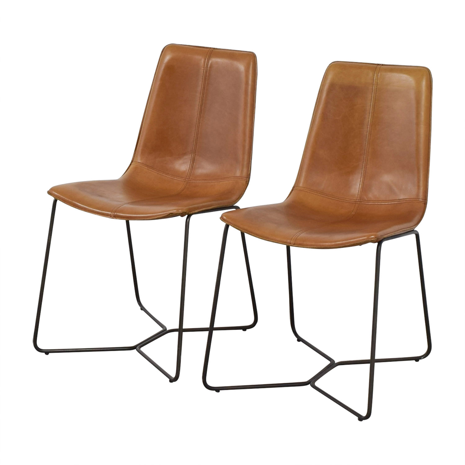 shop West Elm West Elm Leather Slope Dining Chairs online