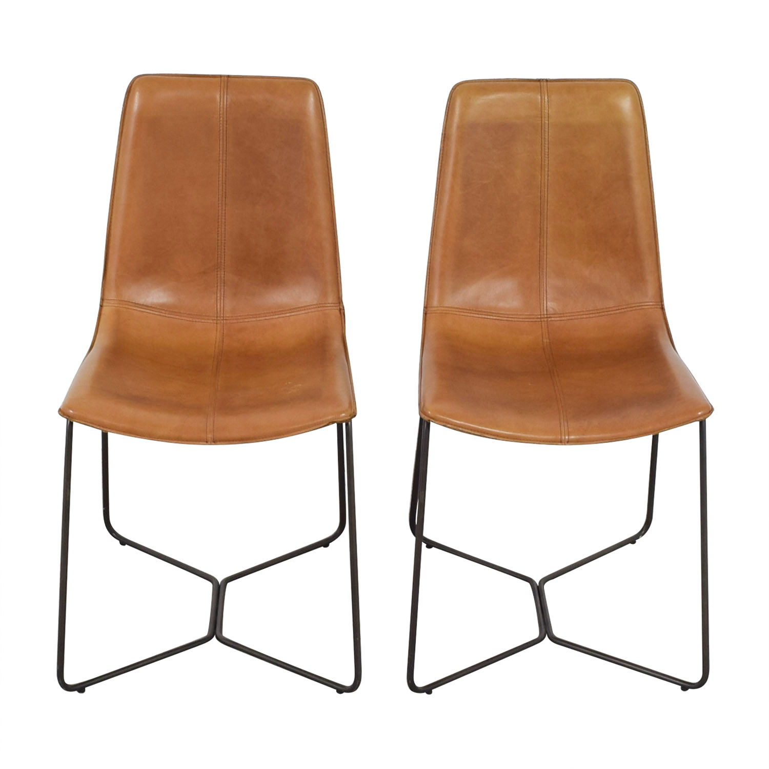 West Elm West Elm Leather Slope Dining Chairs dimensions