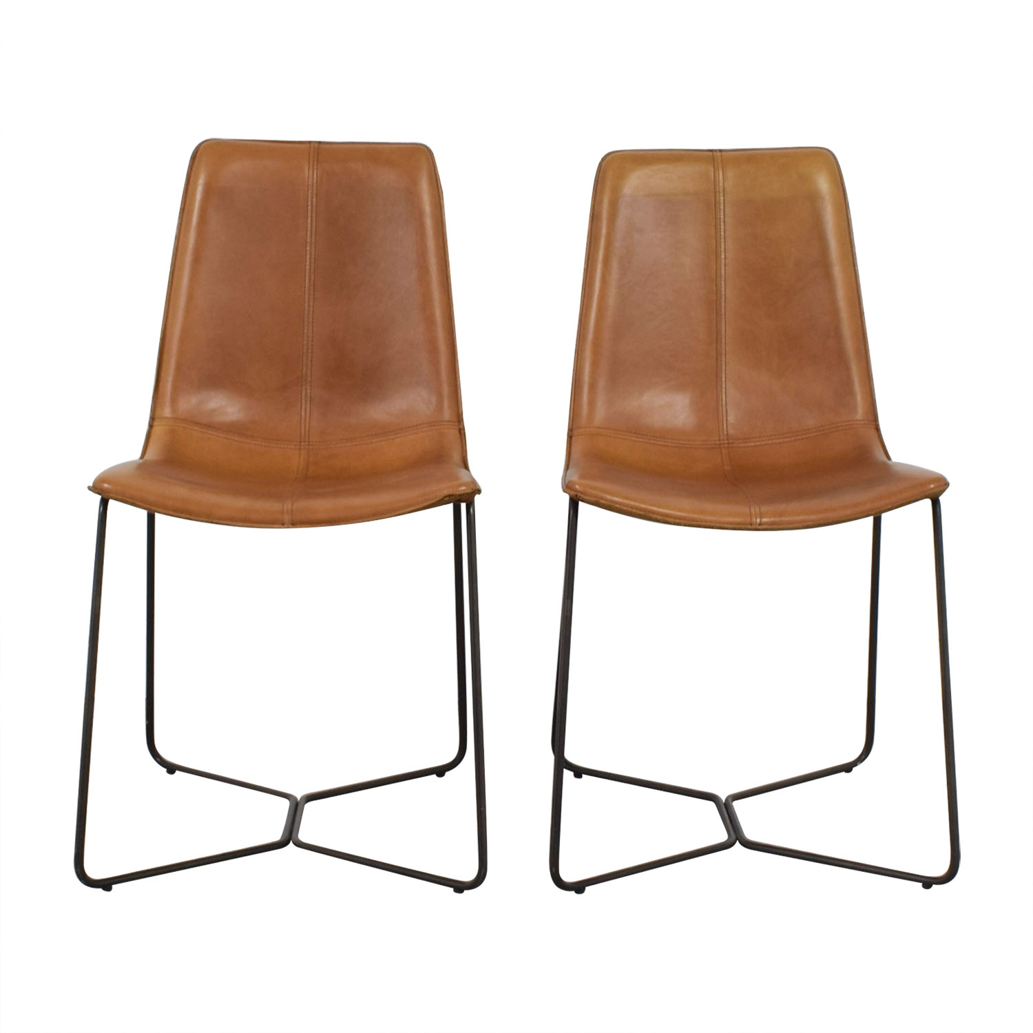 West Elm West Elm Leather Slope Dining Chairs for sale