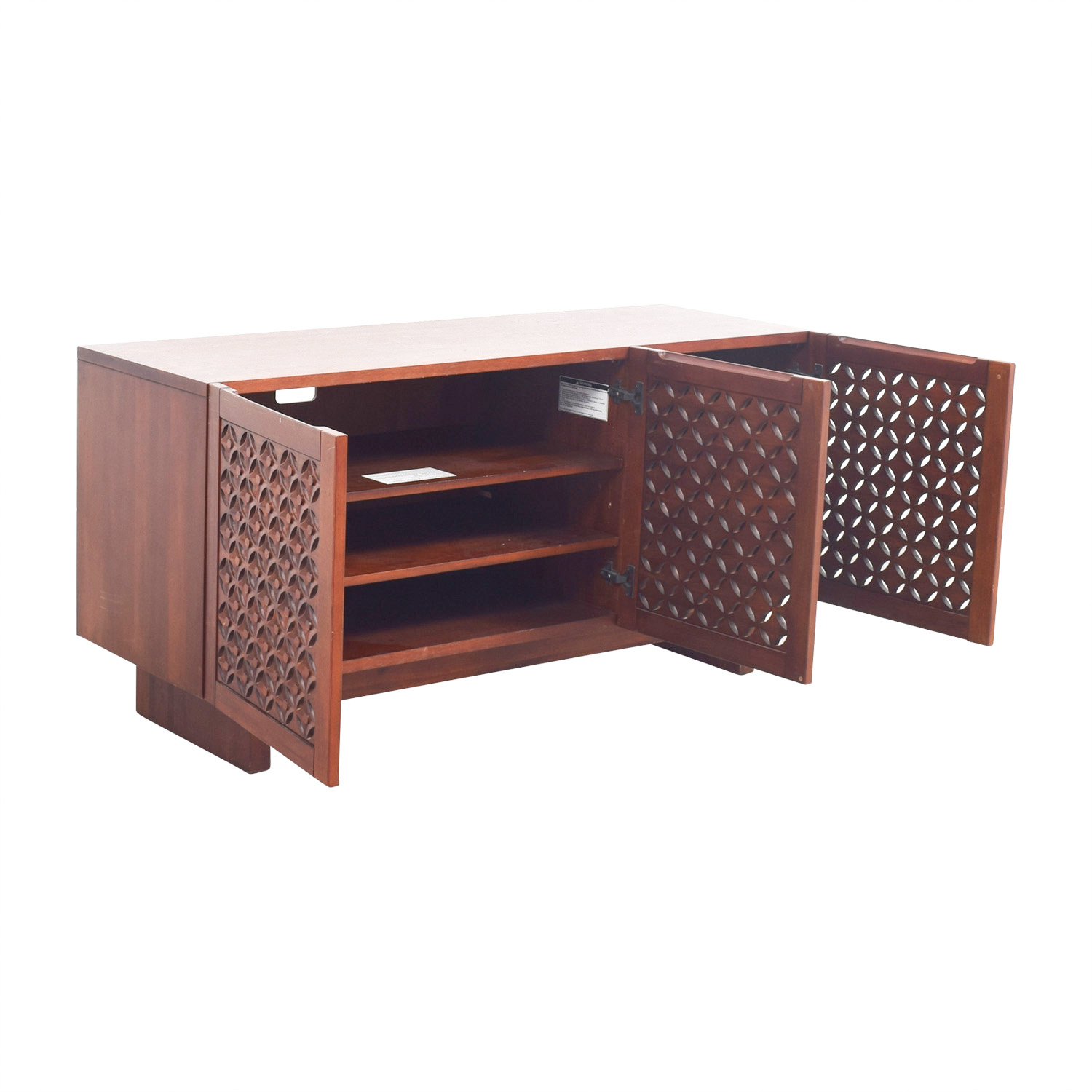 West Elm West Elm Carved Wood Media Console on sale