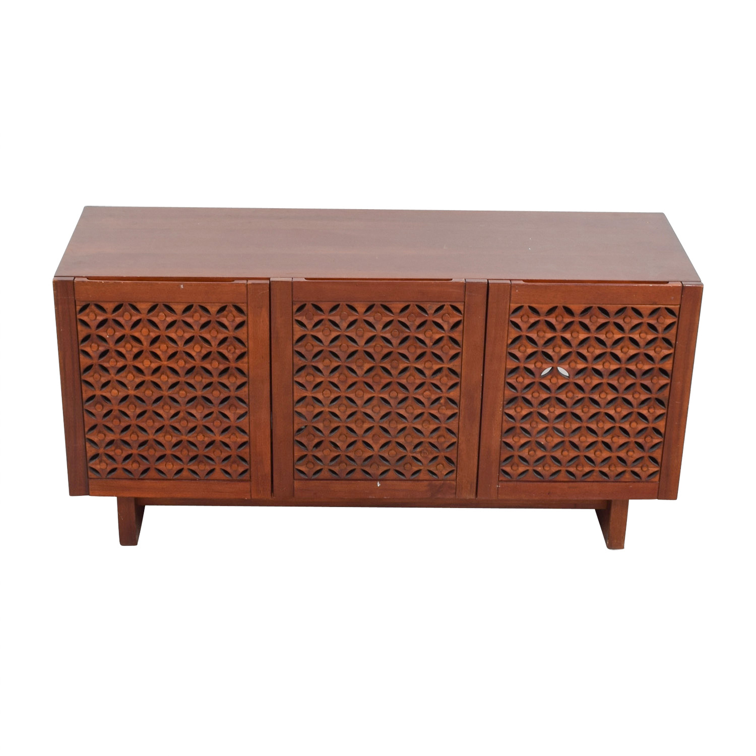 West Elm Carved Wood Media Console / Media Units