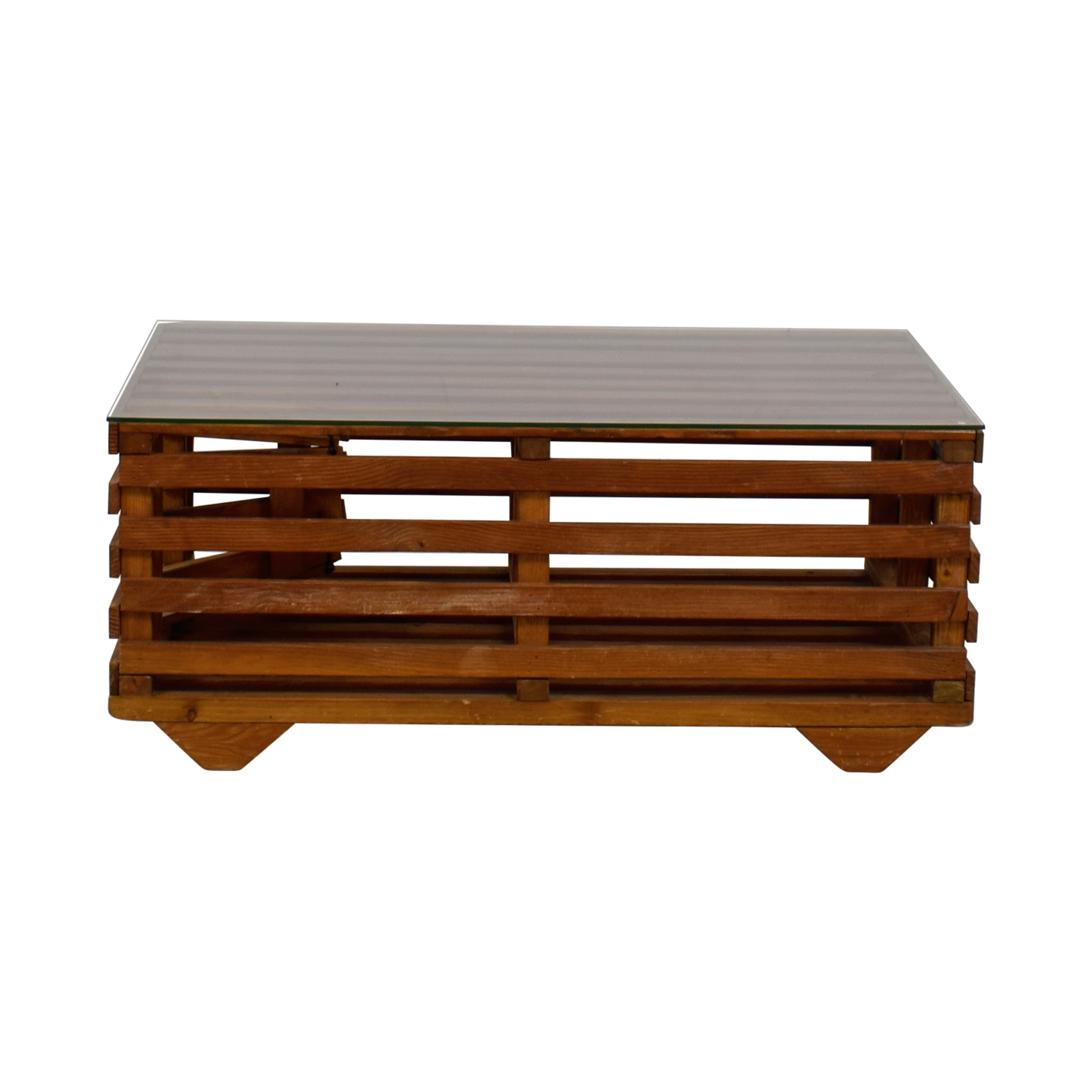 40 OFF Wooden Lobster Trap Coffee Table with Glass Top Tables