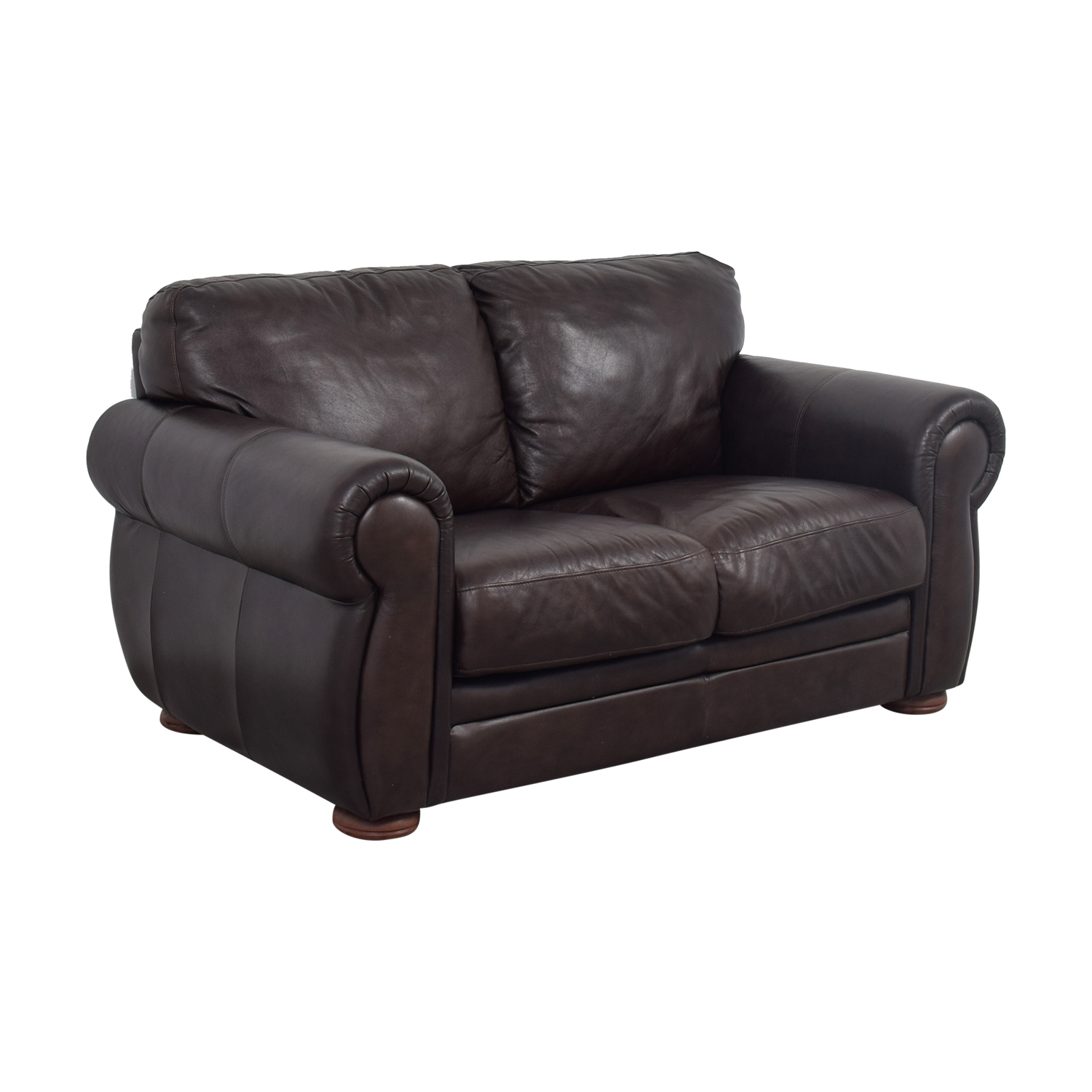 shop Raymour & Flanigan Raymour & Flanigan Brown Leather Two-Cushion Sofa online