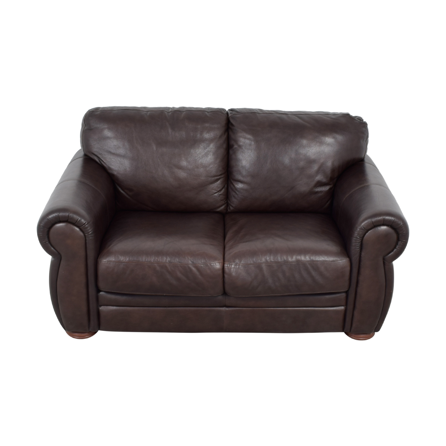 Raymour & Flanigan Brown Leather Two-Cushion Sofa / Sofas