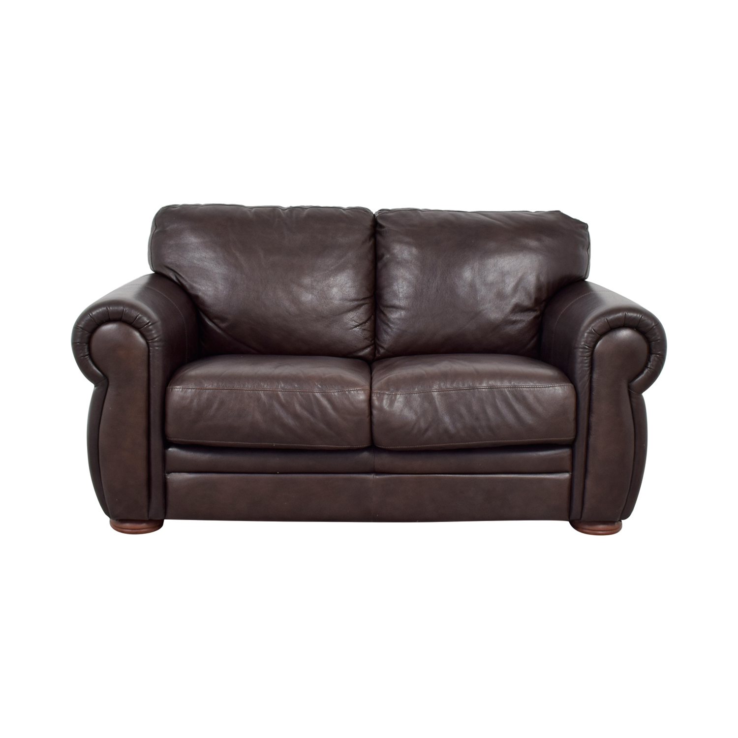 Raymour & Flanigan Raymour & Flanigan Brown Leather Two-Cushion Sofa coupon