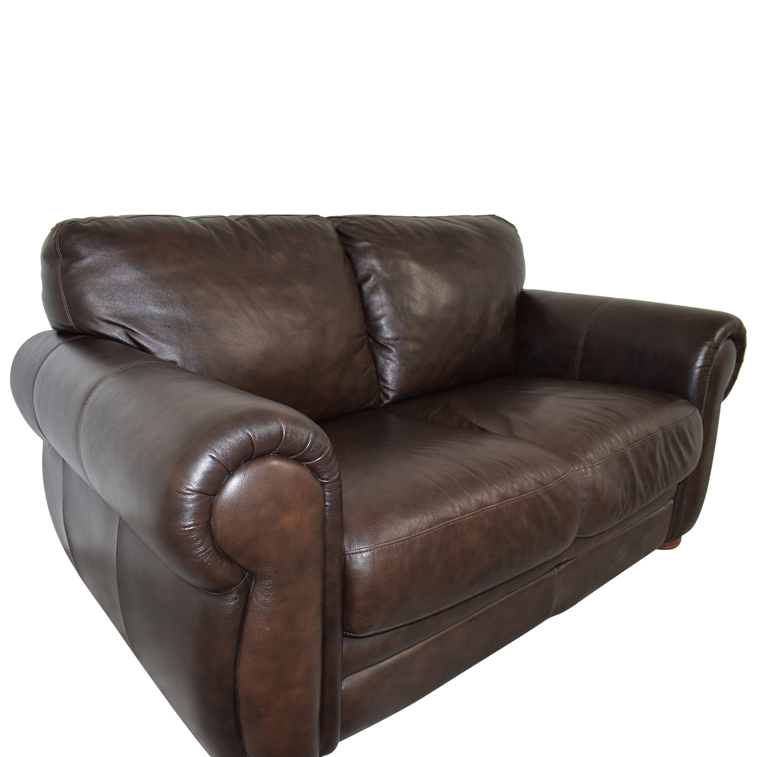 shop Raymour & Flanigan Brown Leather Two-Cushion Sofa Raymour & Flanigan Loveseats