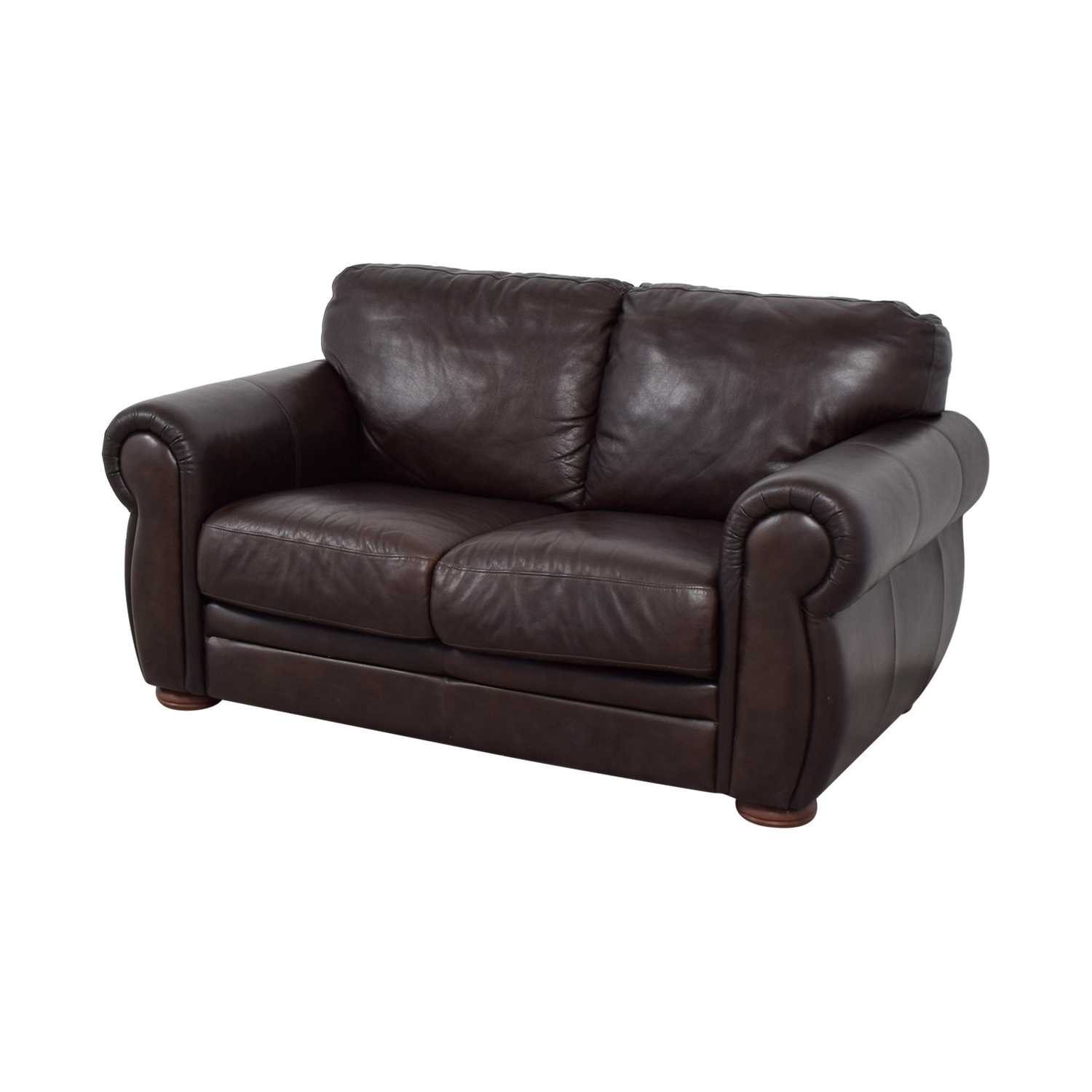 Raymour & Flanigan Raymour & Flanigan Brown Leather Two-Cushion Sofa on sale
