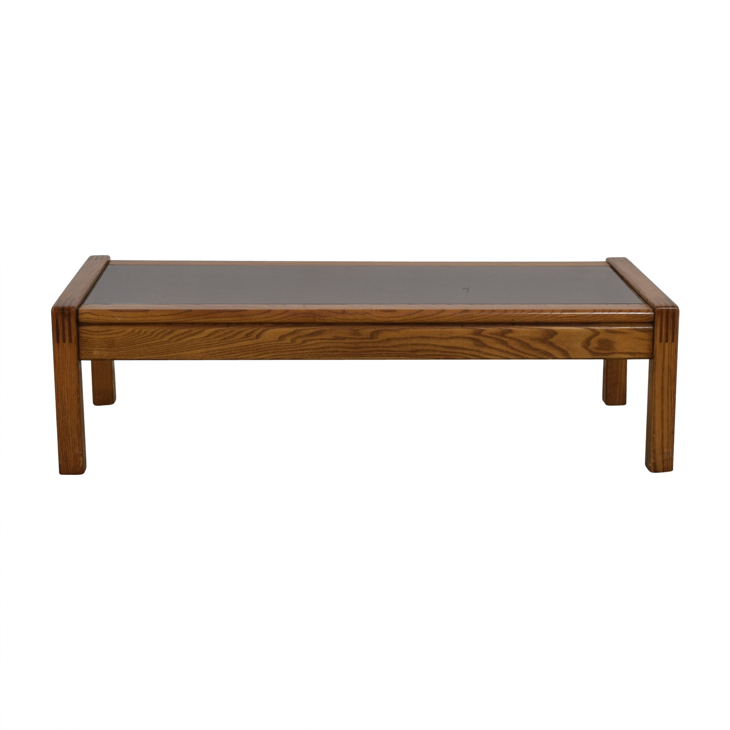 buy  Mid Century Glass Topped Oak Coffee Table online