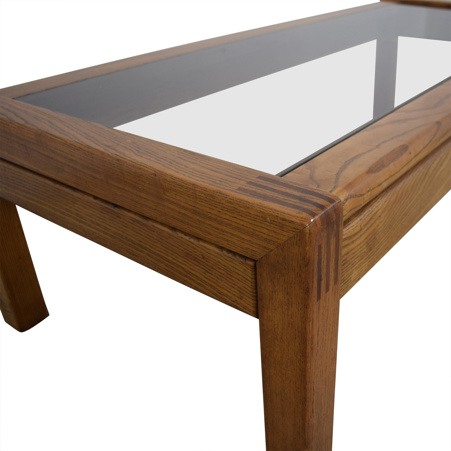 Mid Century Glass Topped Oak Coffee Table Coffee Tables