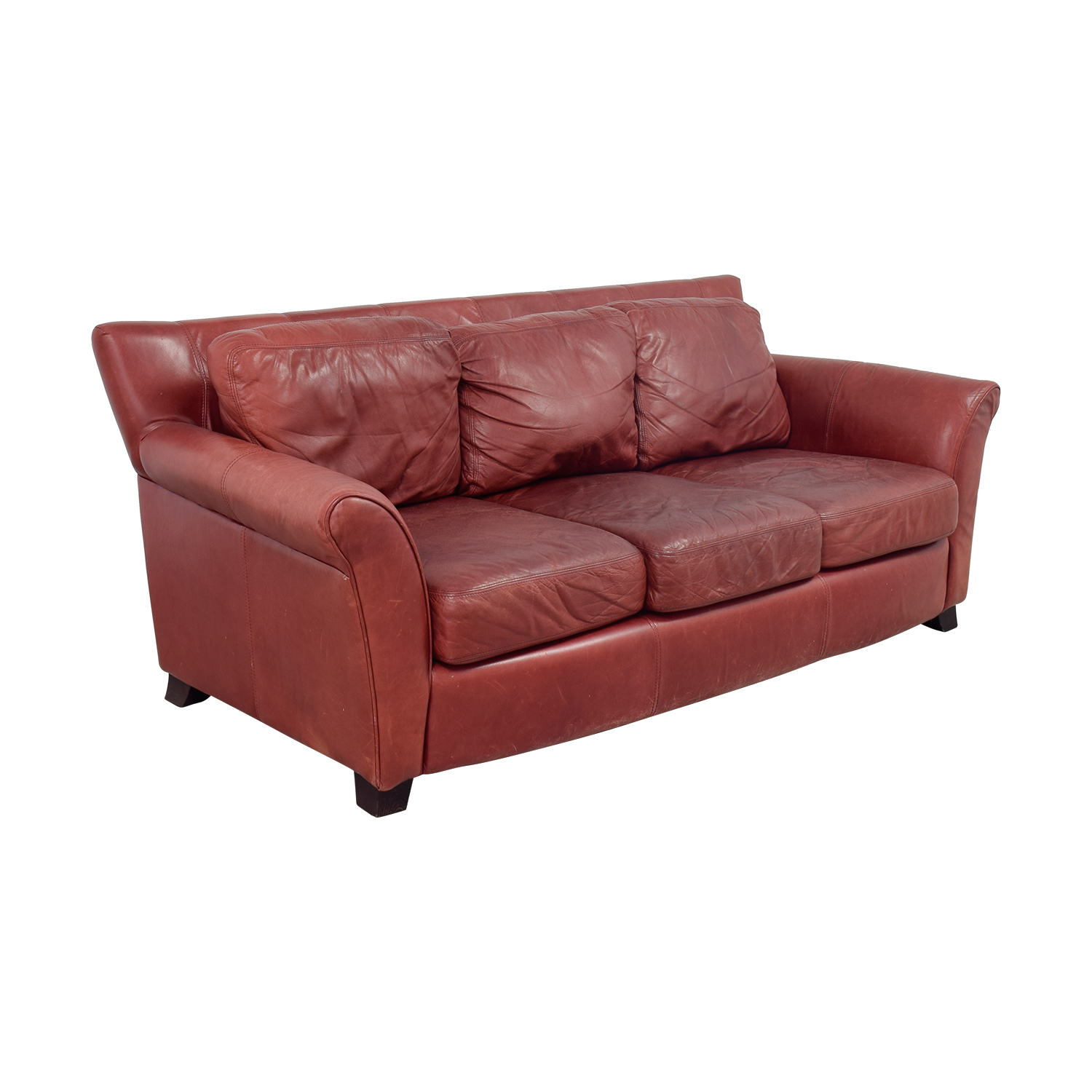 Palliser Palliser Red Leather Three-Cushion Sofa second hand