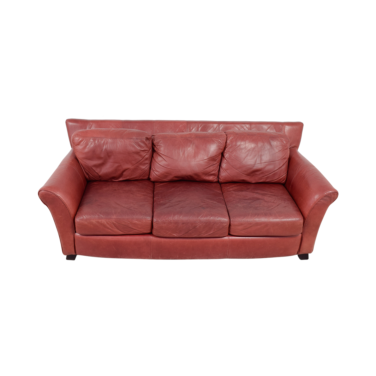 Palliser Palliser Red Leather Three-Cushion Sofa dimensions