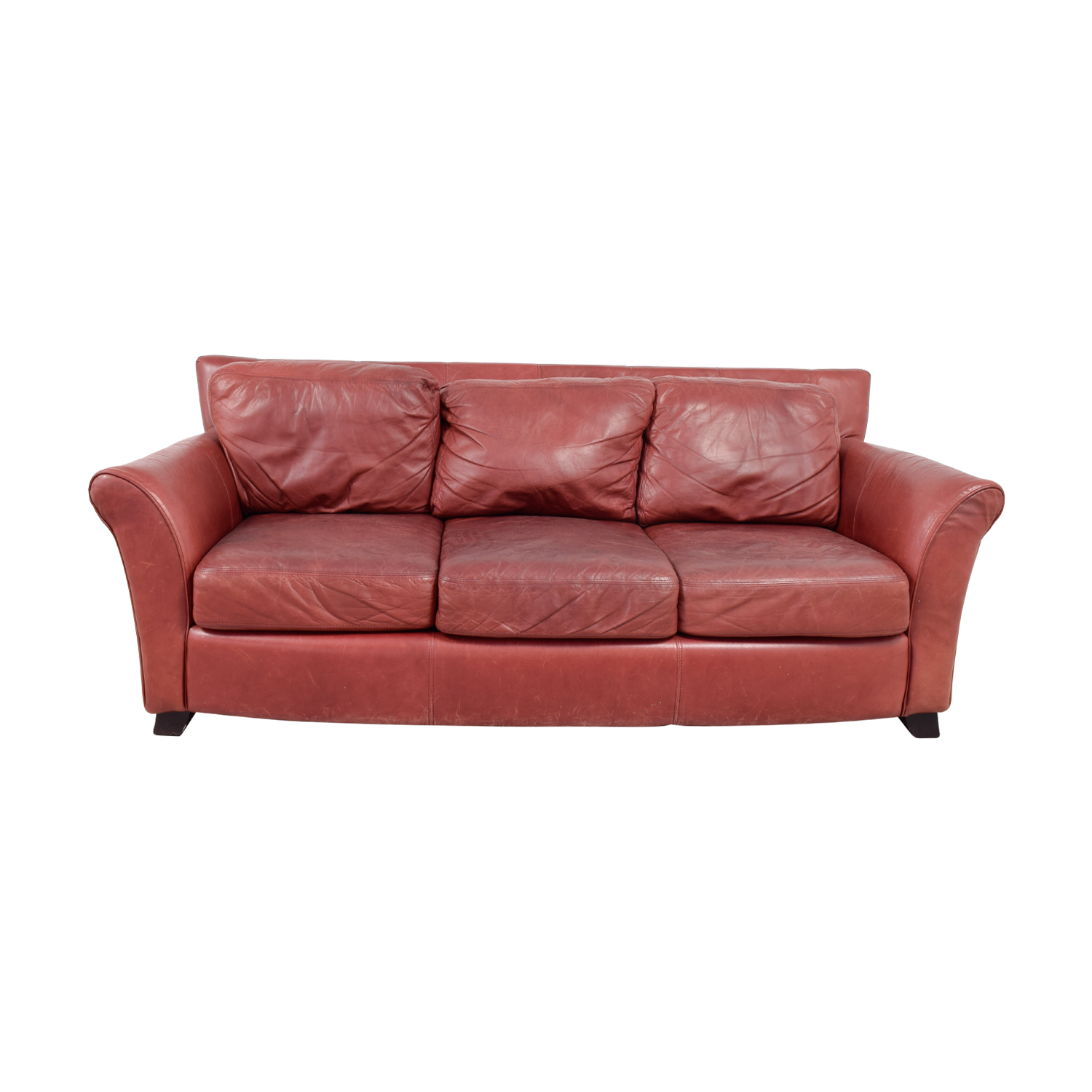 Palliser Palliser Red Leather Three-Cushion Sofa vintage cherry