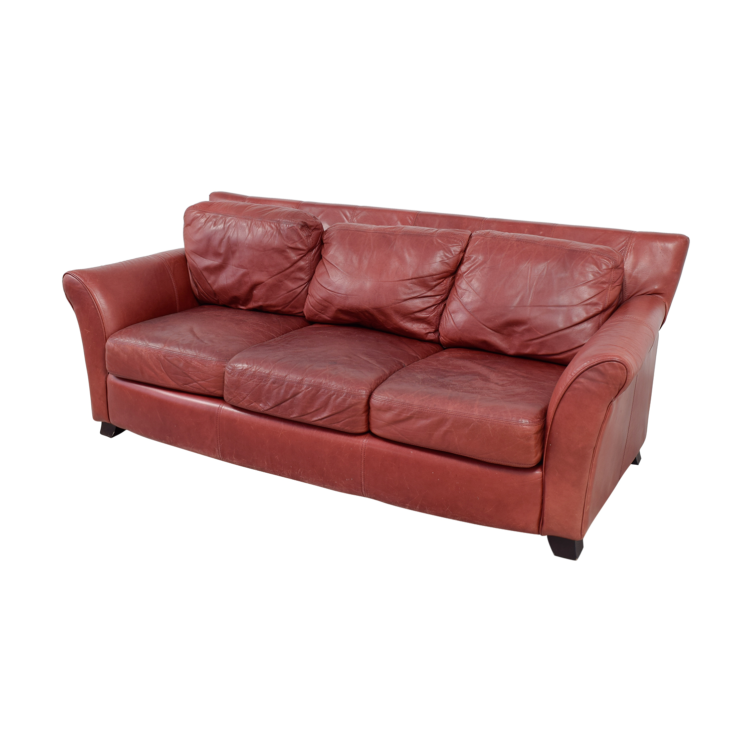 Palliser Palliser Red Leather Three-Cushion Sofa used
