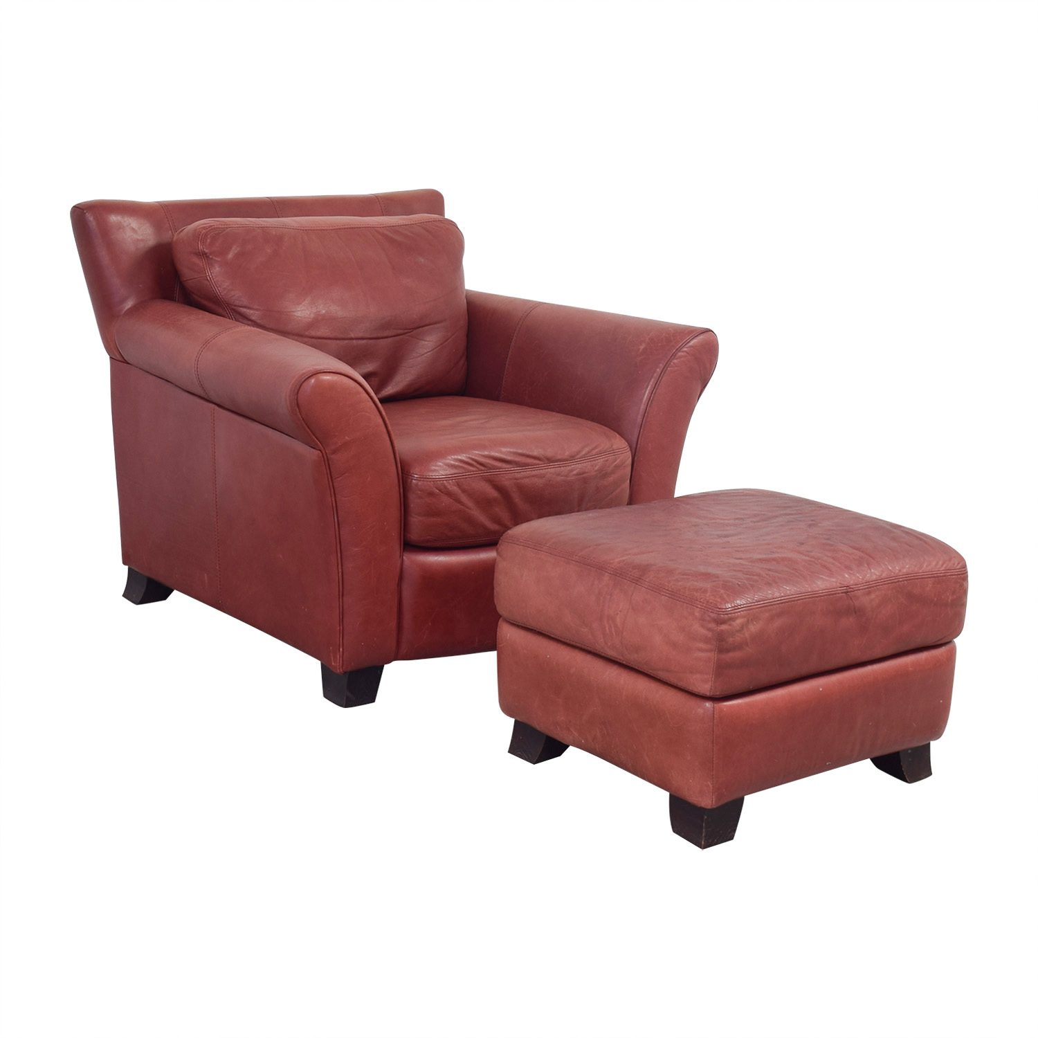 Palliser Palliser Red Leather Chair and Ottoman Accent Chairs