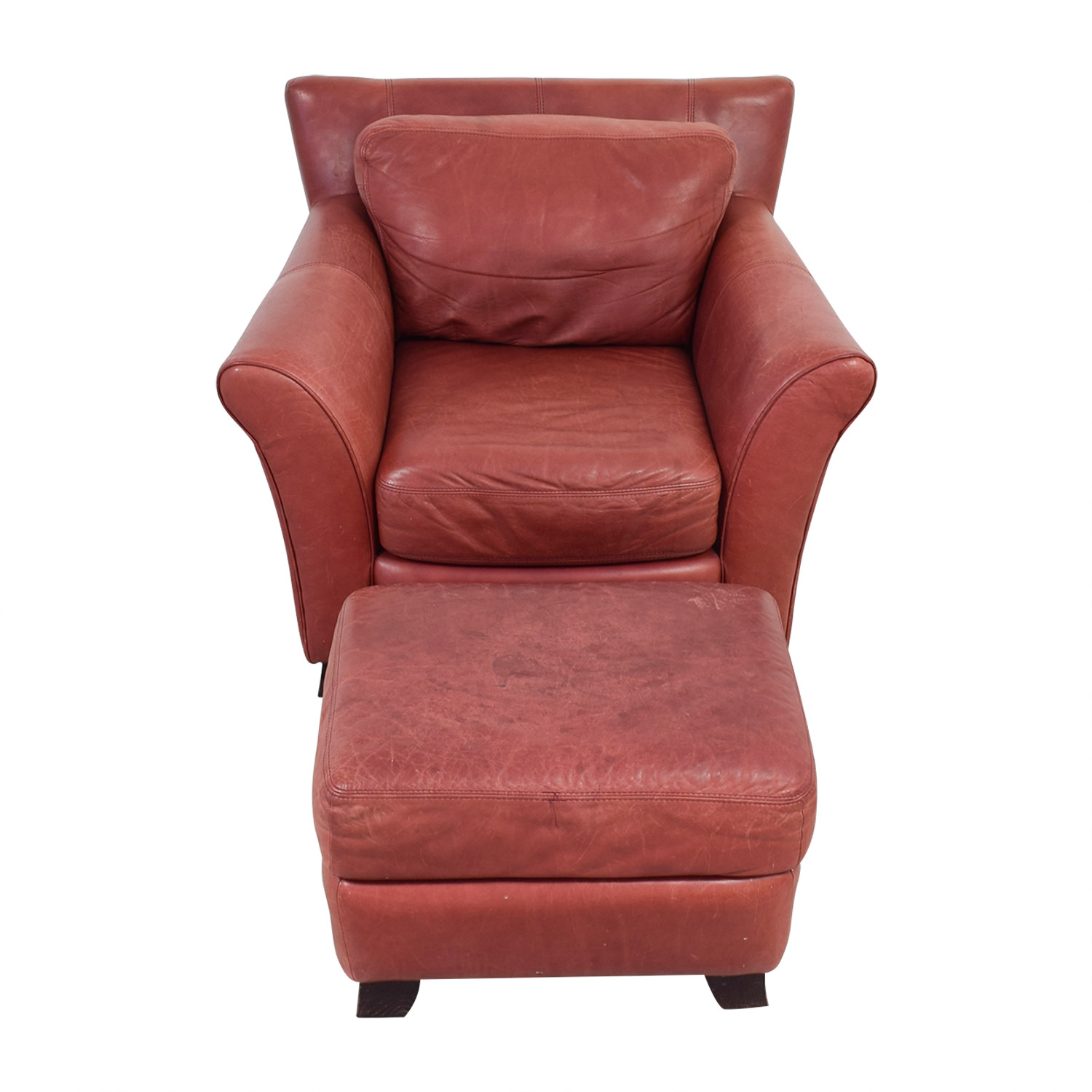 Palliser Red Leather Chair and Ottoman / Chairs