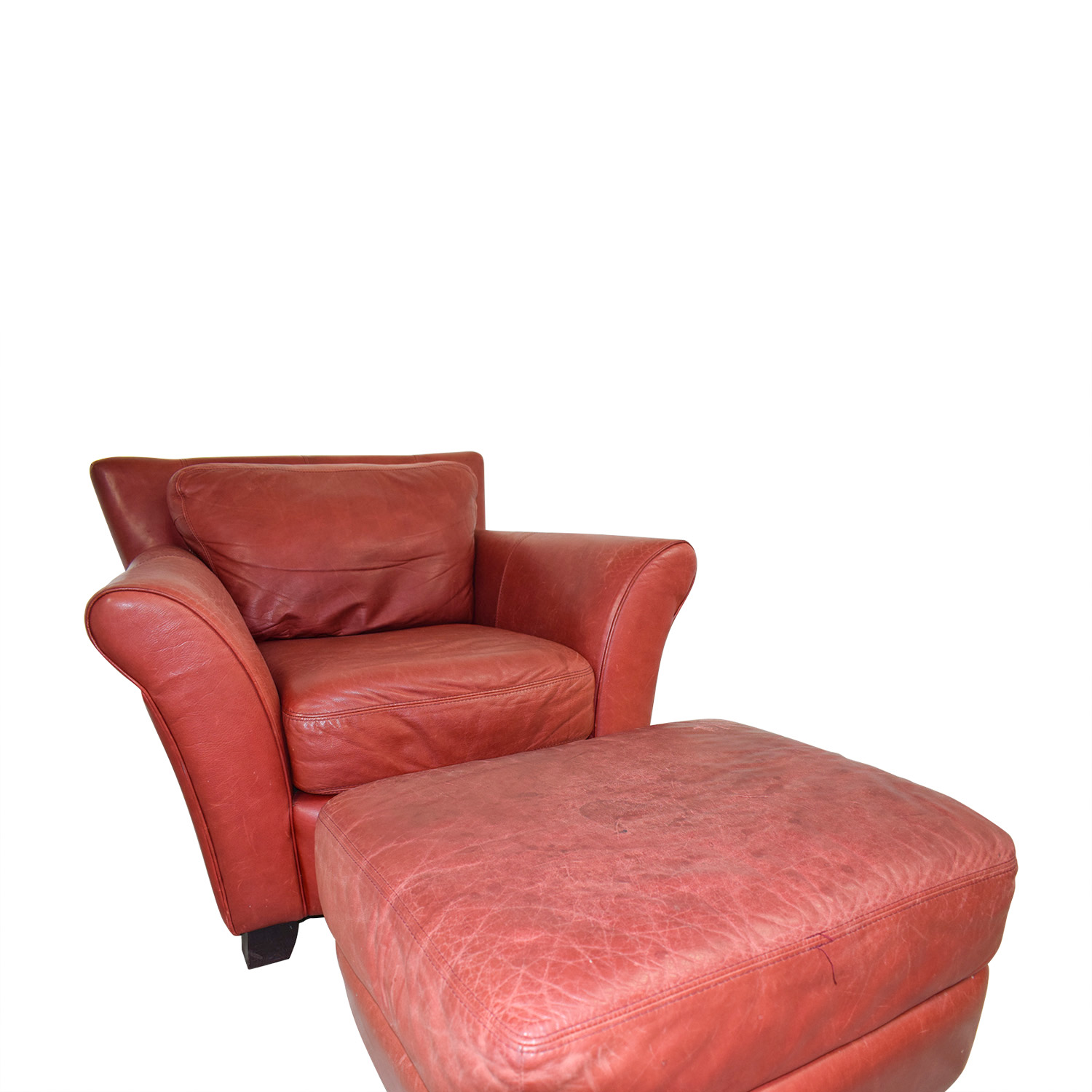 Palliser Palliser Red Leather Chair and Ottoman price