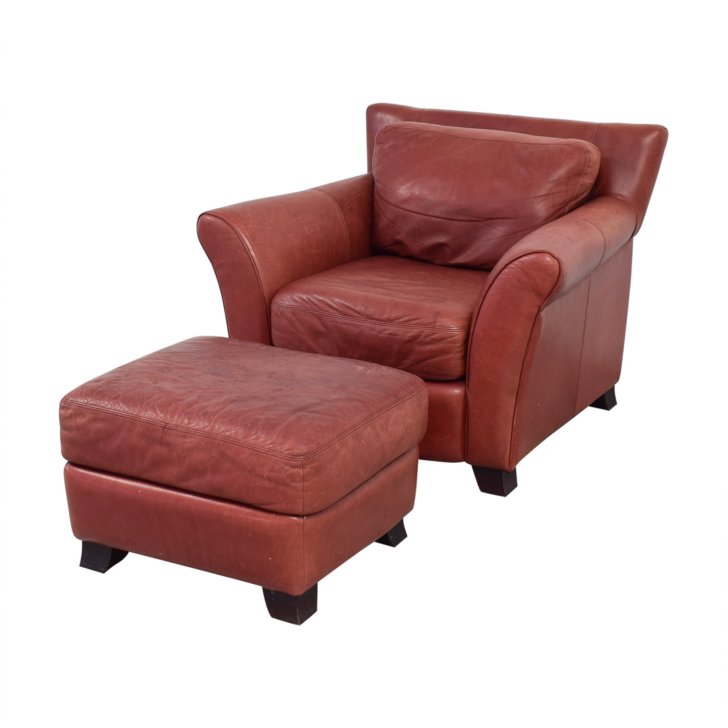 Palliser Red Leather Chair And Ottoman Accent Chairs