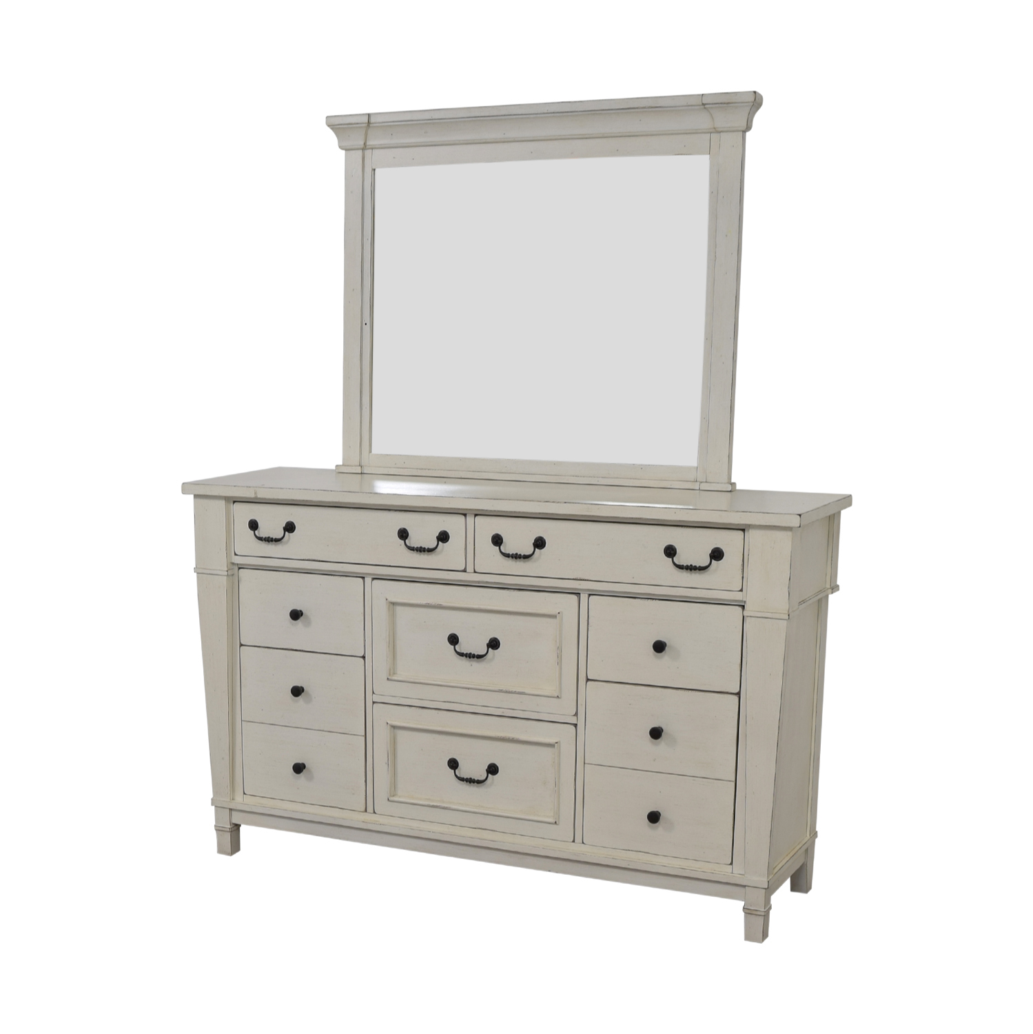 shop Kaiser Furniture White Eight-Drawer Dresser and Mirror Kaiser Furniture Dressers