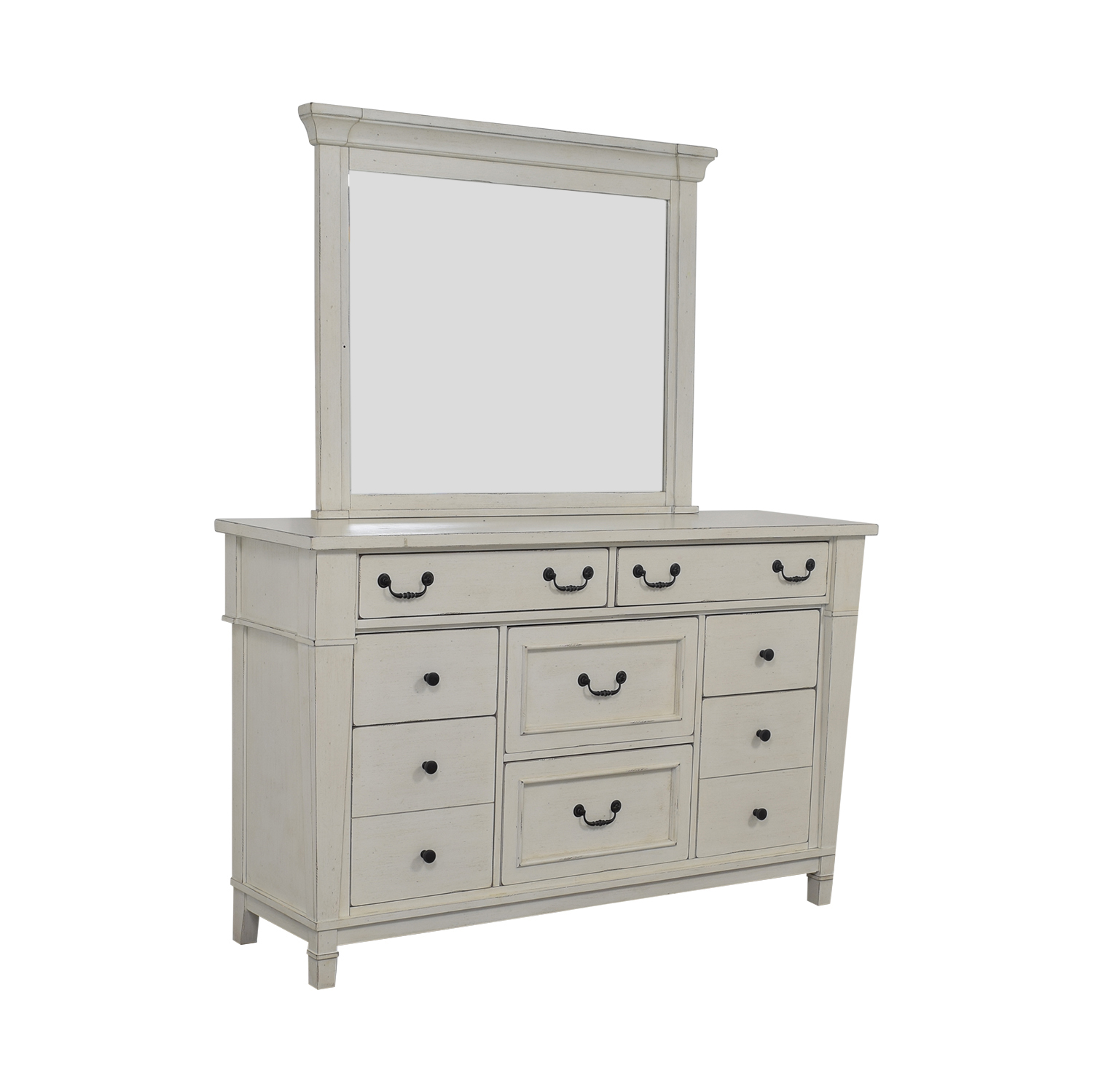 shop Kaiser Furniture White Eight-Drawer Dresser and Mirror Kaiser Furniture Storage