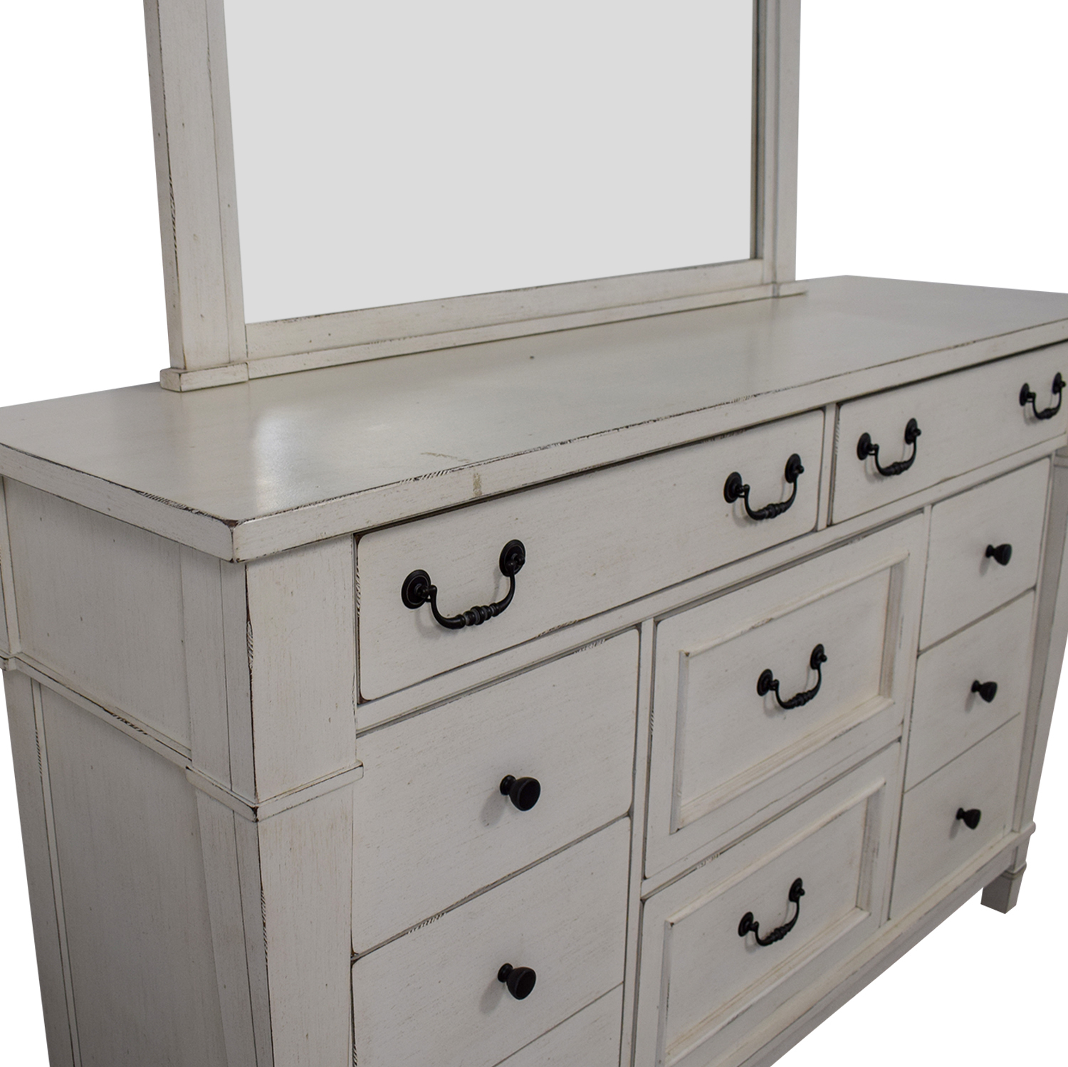 Kaiser Furniture Kaiser Furniture White Eight-Drawer Dresser and Mirror nyc