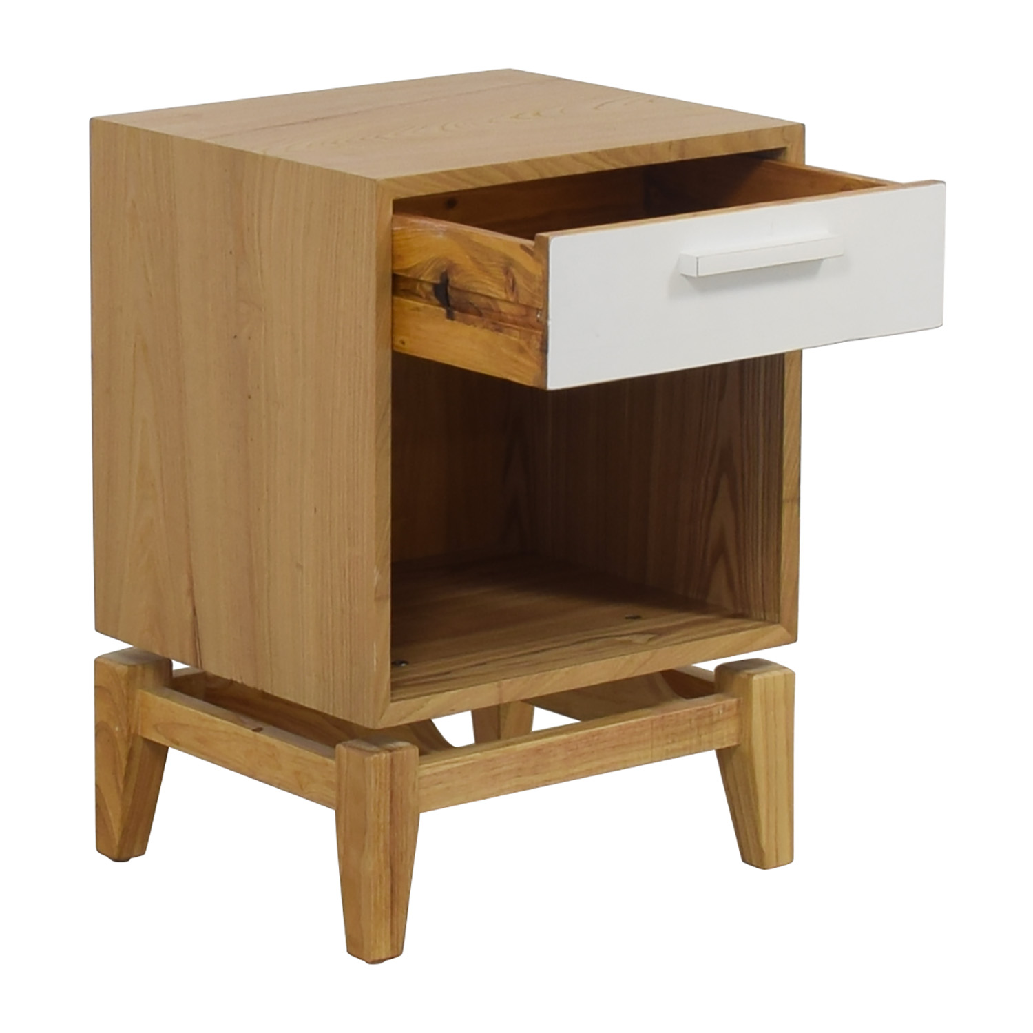 Joss & Main Natural and White Single Drawer End Table / End Tables