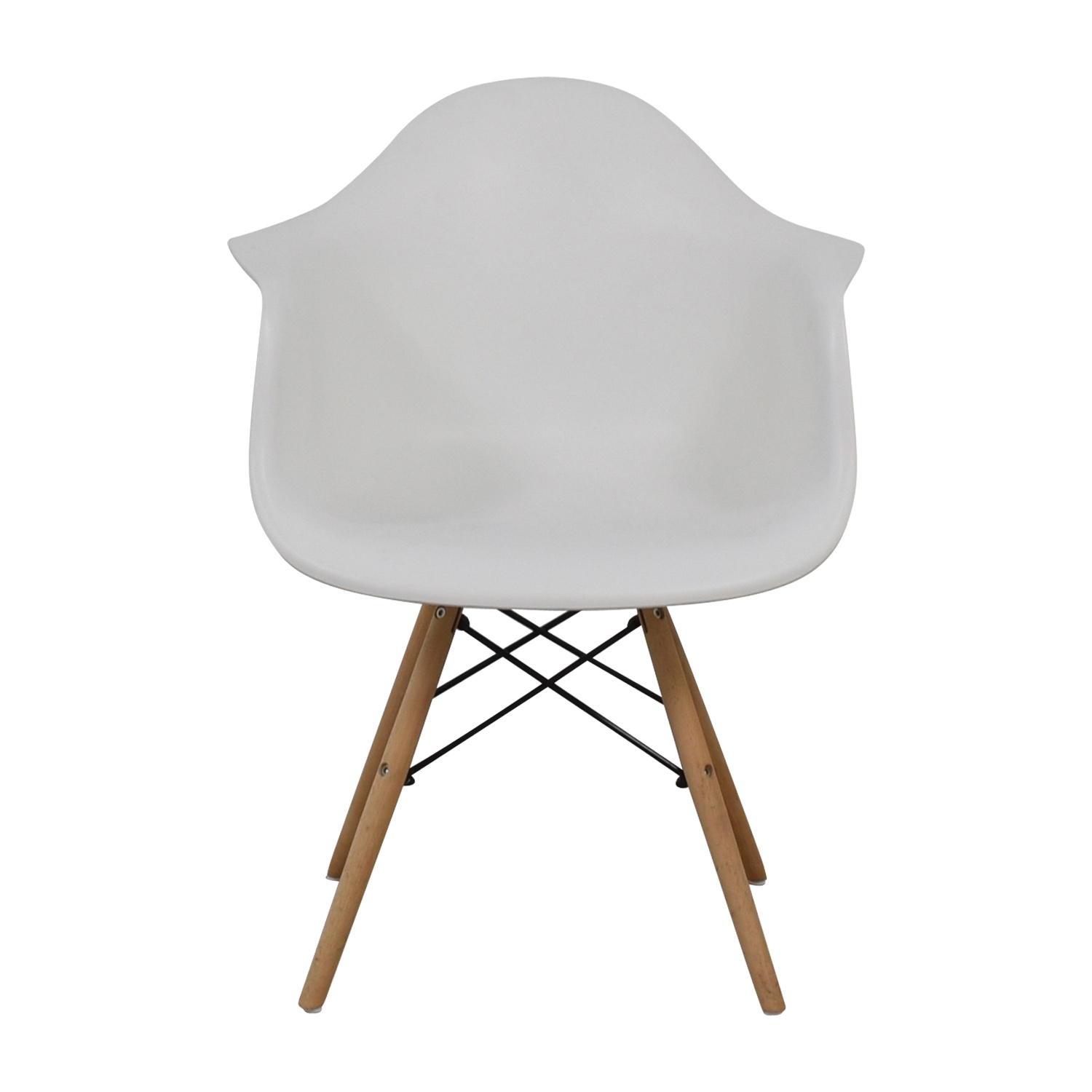 Giantex Giantex Mid Century White Molded Plastic Dining Chair with Wood Legs for sale