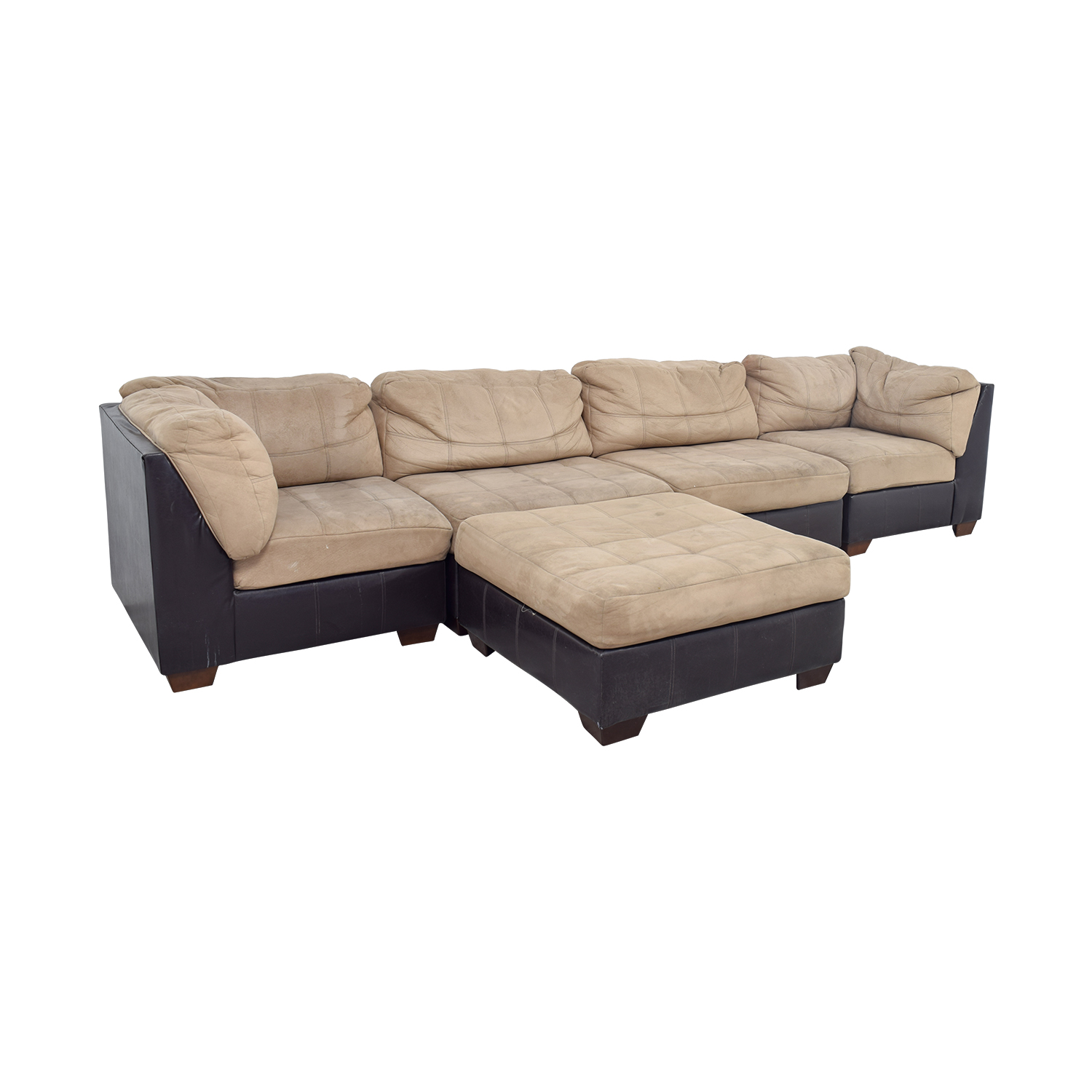 shop Ashley Furniture Brown Leather and Beige Sectional Ashley Furniture Sofas